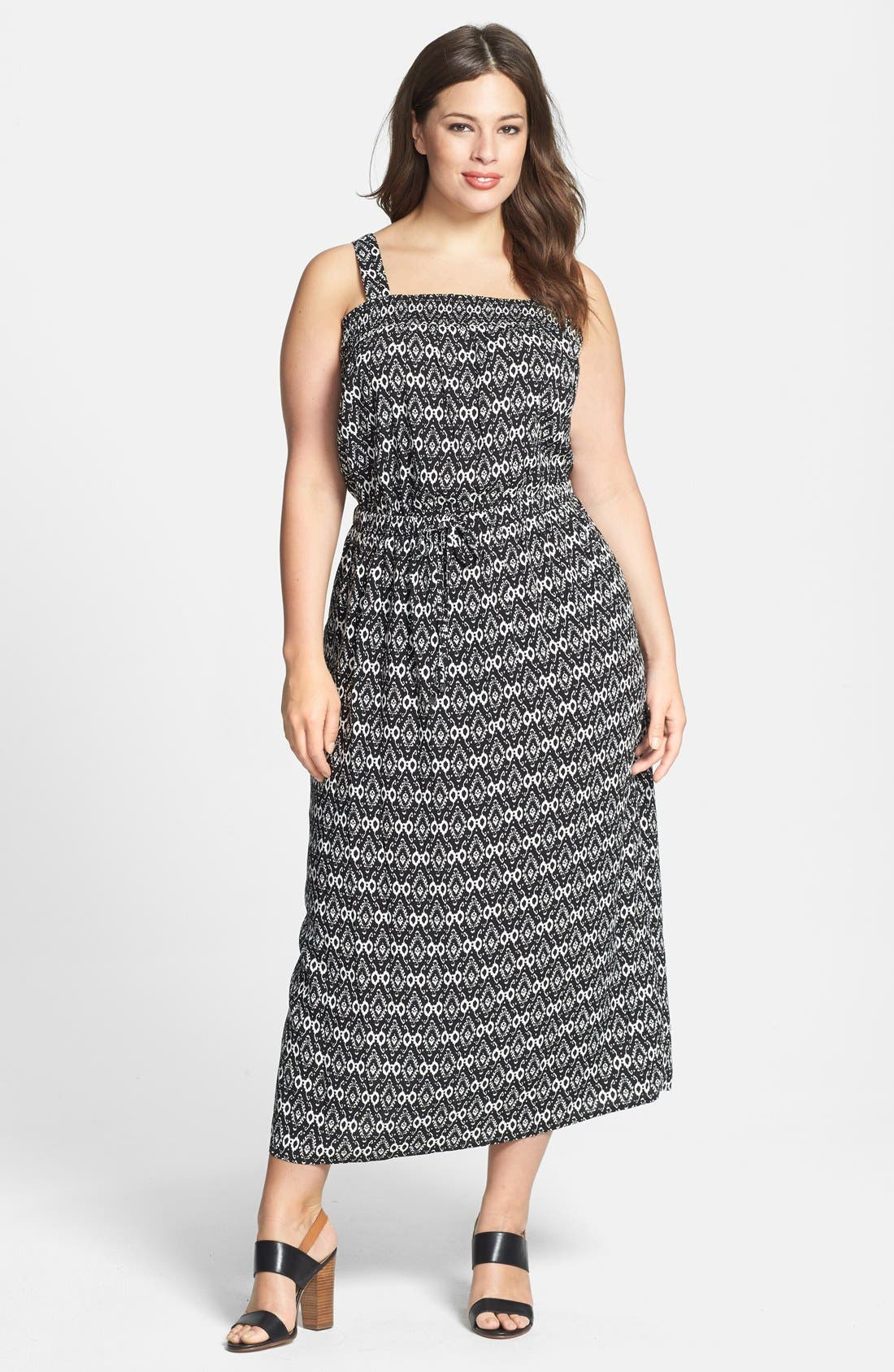 Alternate Image 1 Selected - Two by Vince Camuto 'Ancient Etchings' Tie Waist Maxi Dress (Plus Size)