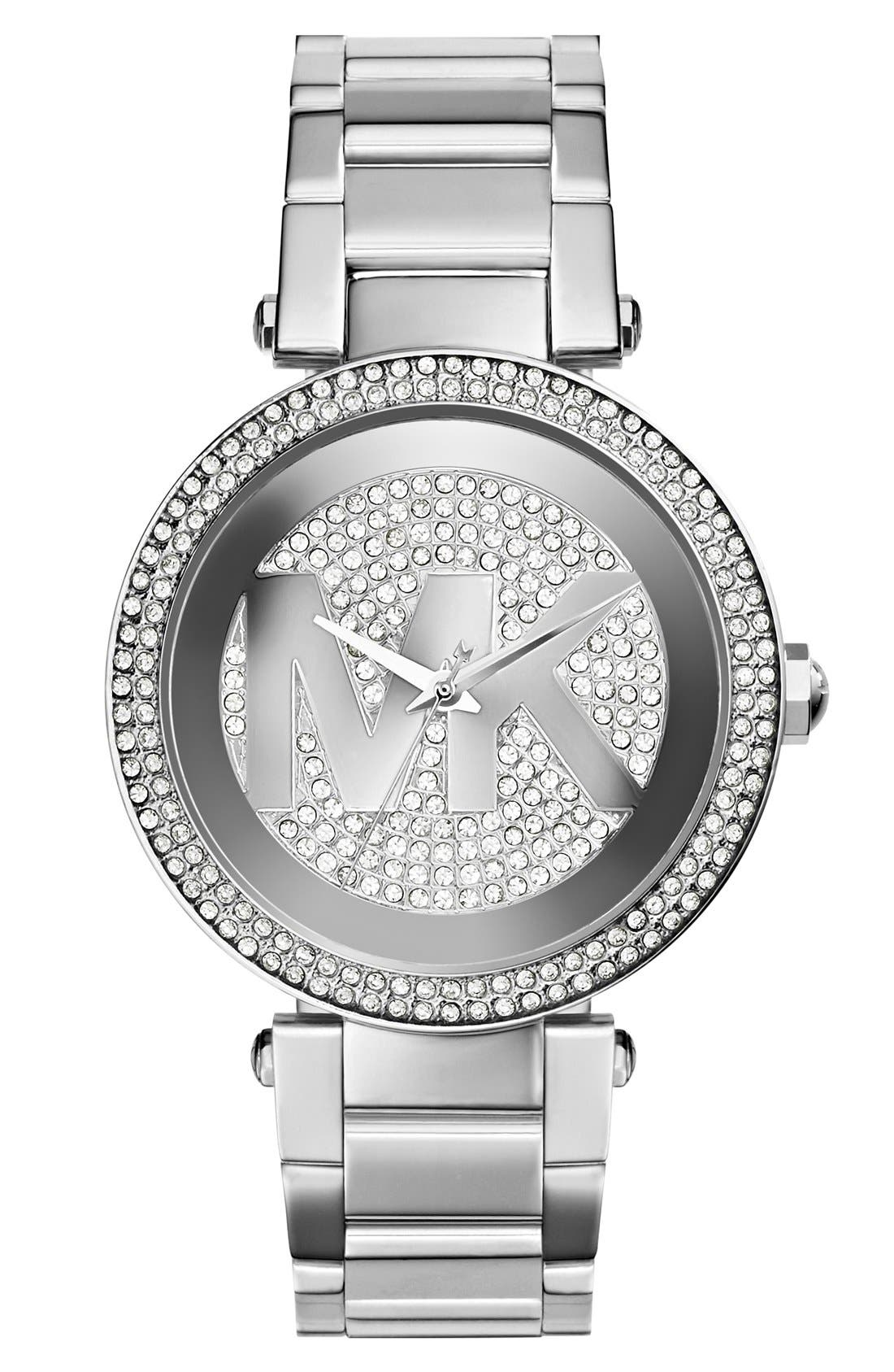 Main Image - Michael Kors 'Parker' Pavé Logo Dial Bracelet Watch, 39mm