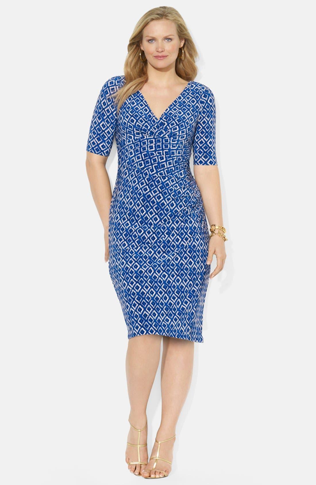 Main Image - Lauren Ralph Lauren Ikat Print Matte Jersey Dress (Plus Size)