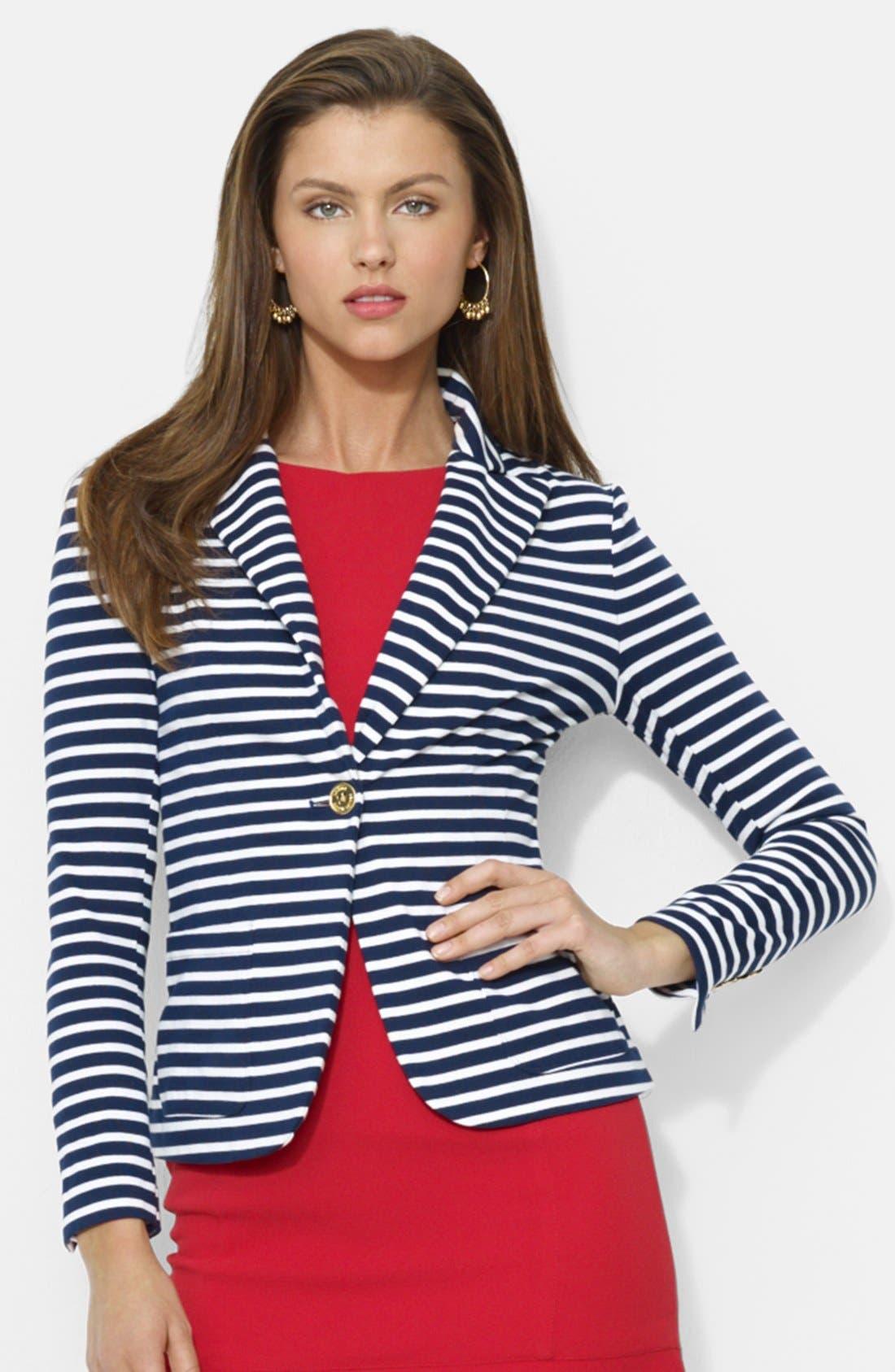 Main Image - Lauren Ralph Lauren Stripe Cotton Knit Blazer (Regular & Petite)