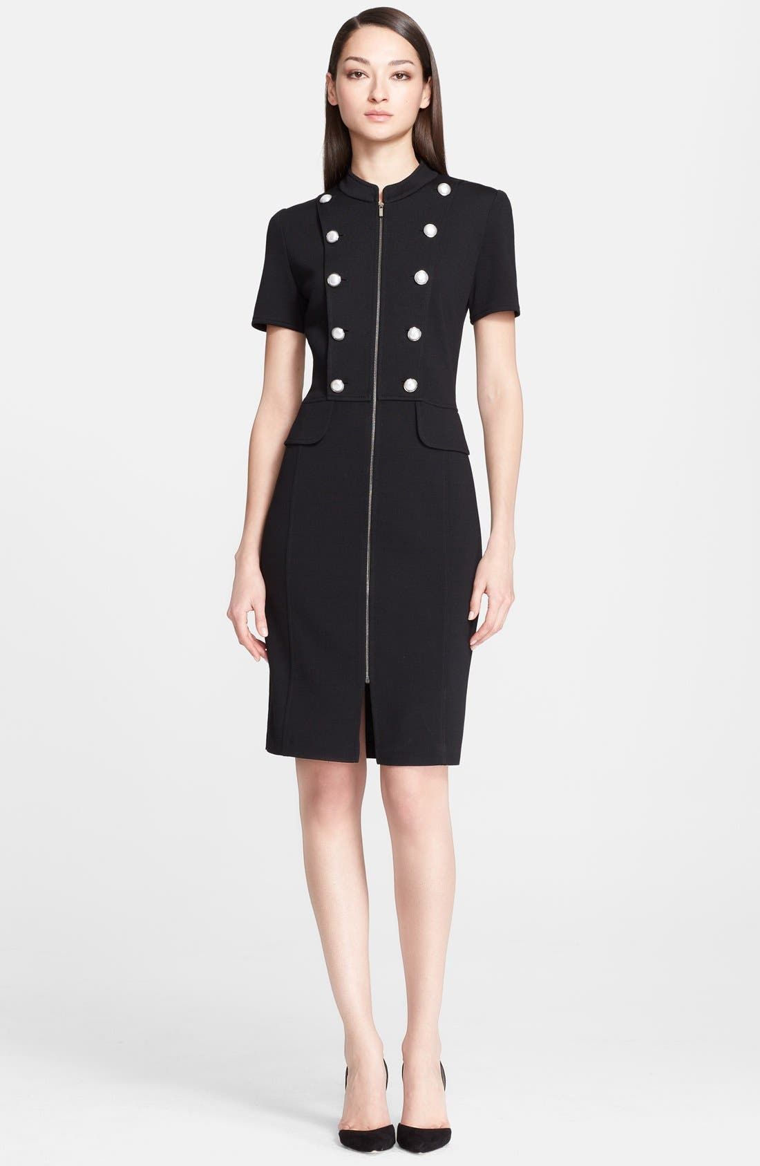 Main Image - St. John Collection Milano Knit Military Dress