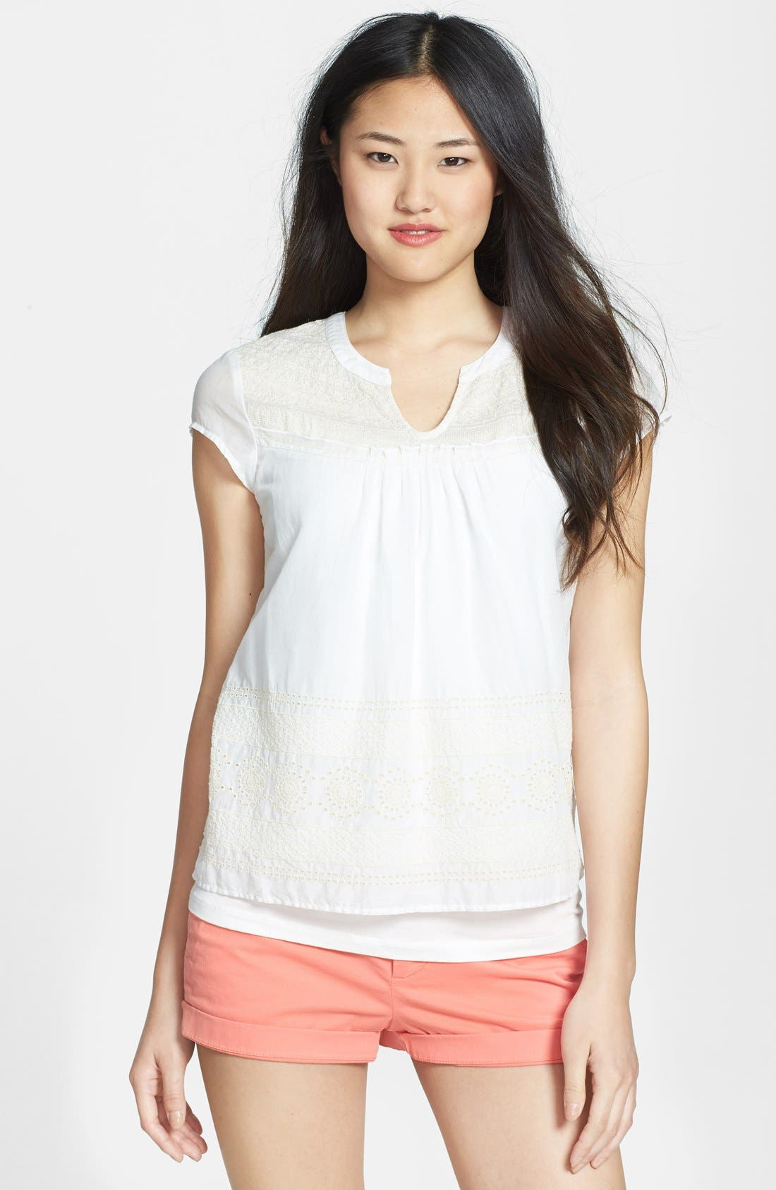 Alternate Image 1 Selected - Lucky Brand Eyelet Embroidered Cotton Top