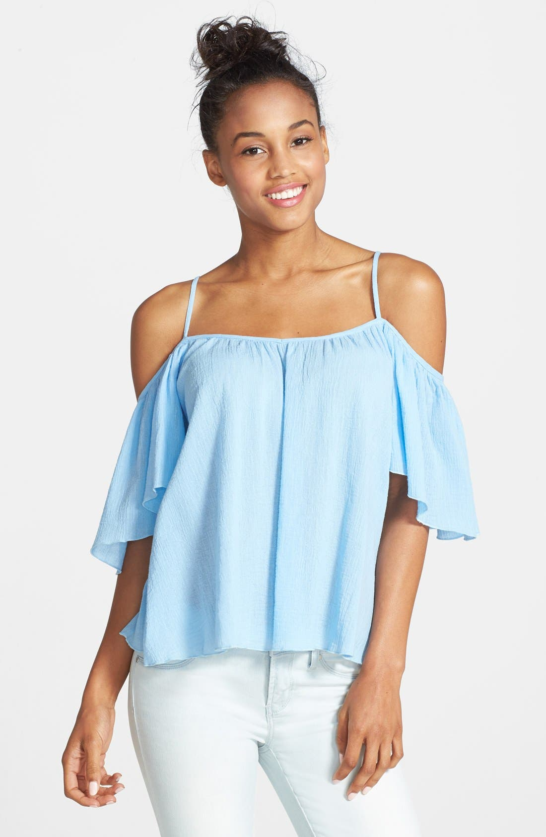 Alternate Image 1 Selected - Mimi Chica Cold Shoulder Top (Juniors) (Online Only)