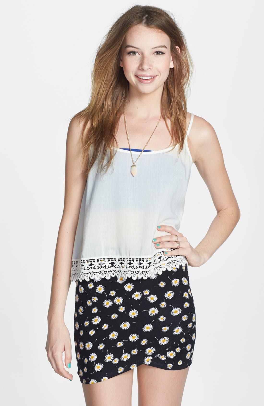 Main Image - Lush Print Stretch Knit Wrap Miniskirt (Juniors)