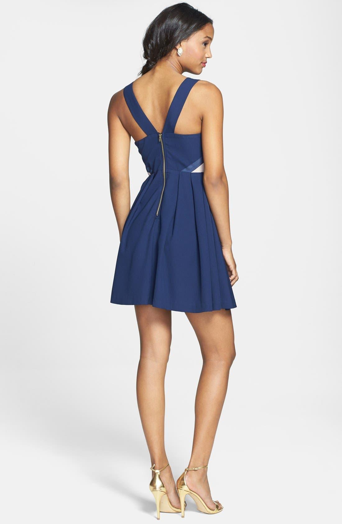 Alternate Image 2  - a. drea Mesh Inset Fit & Flare Dress (Juniors)