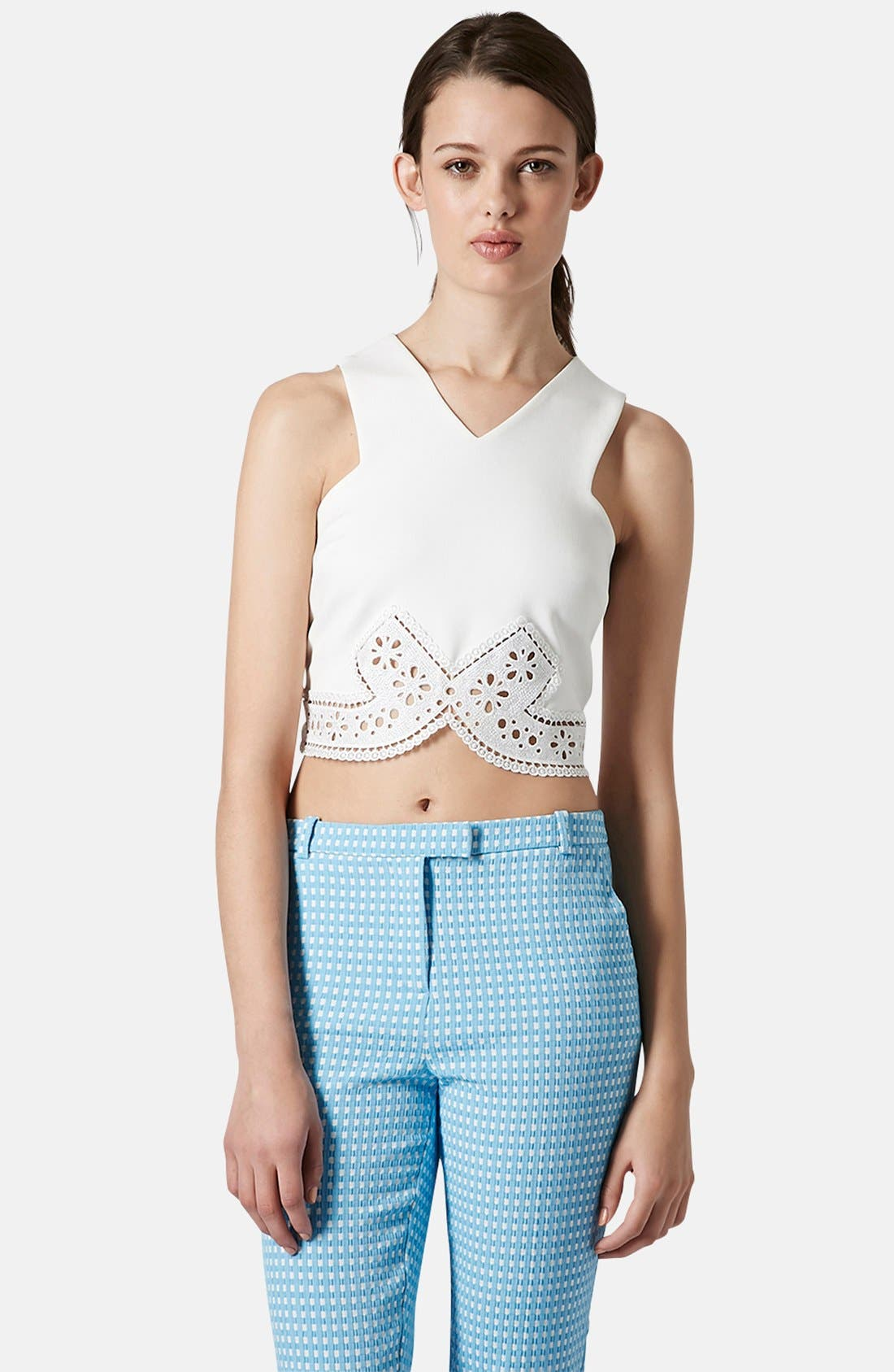 Main Image - Topshop Lace Trim Crop Top
