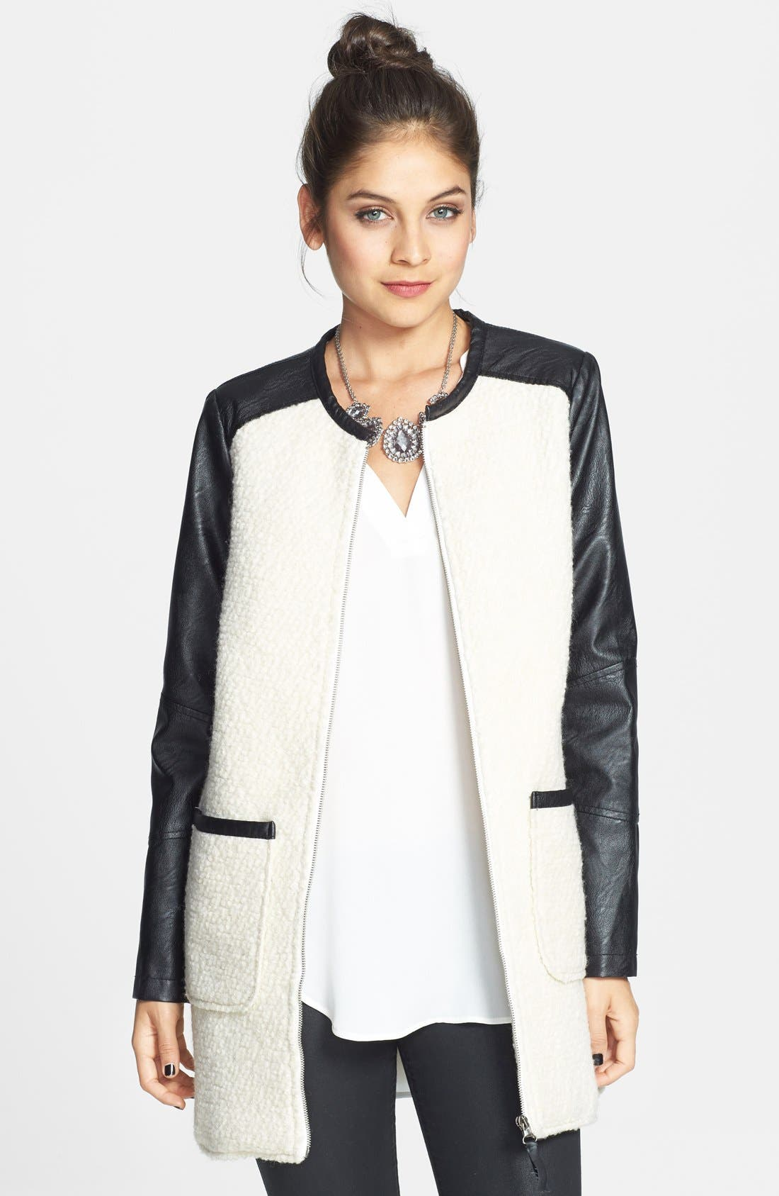 Alternate Image 1 Selected - Jolt Colorblock Faux Leather Bouclé Knit Coat (Juniors)