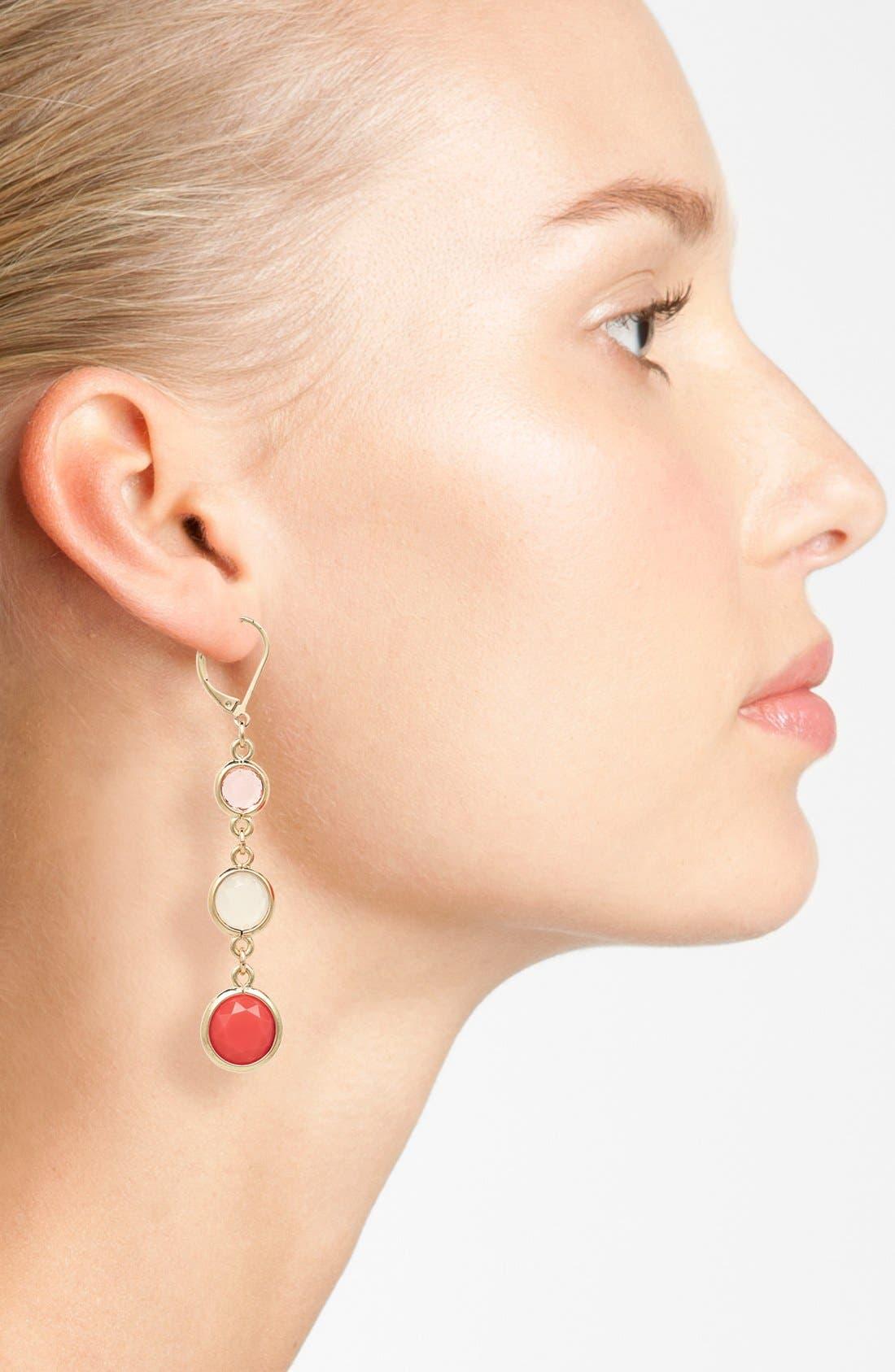 Alternate Image 2  - Anne Klein Stone Triple Drop Earrings