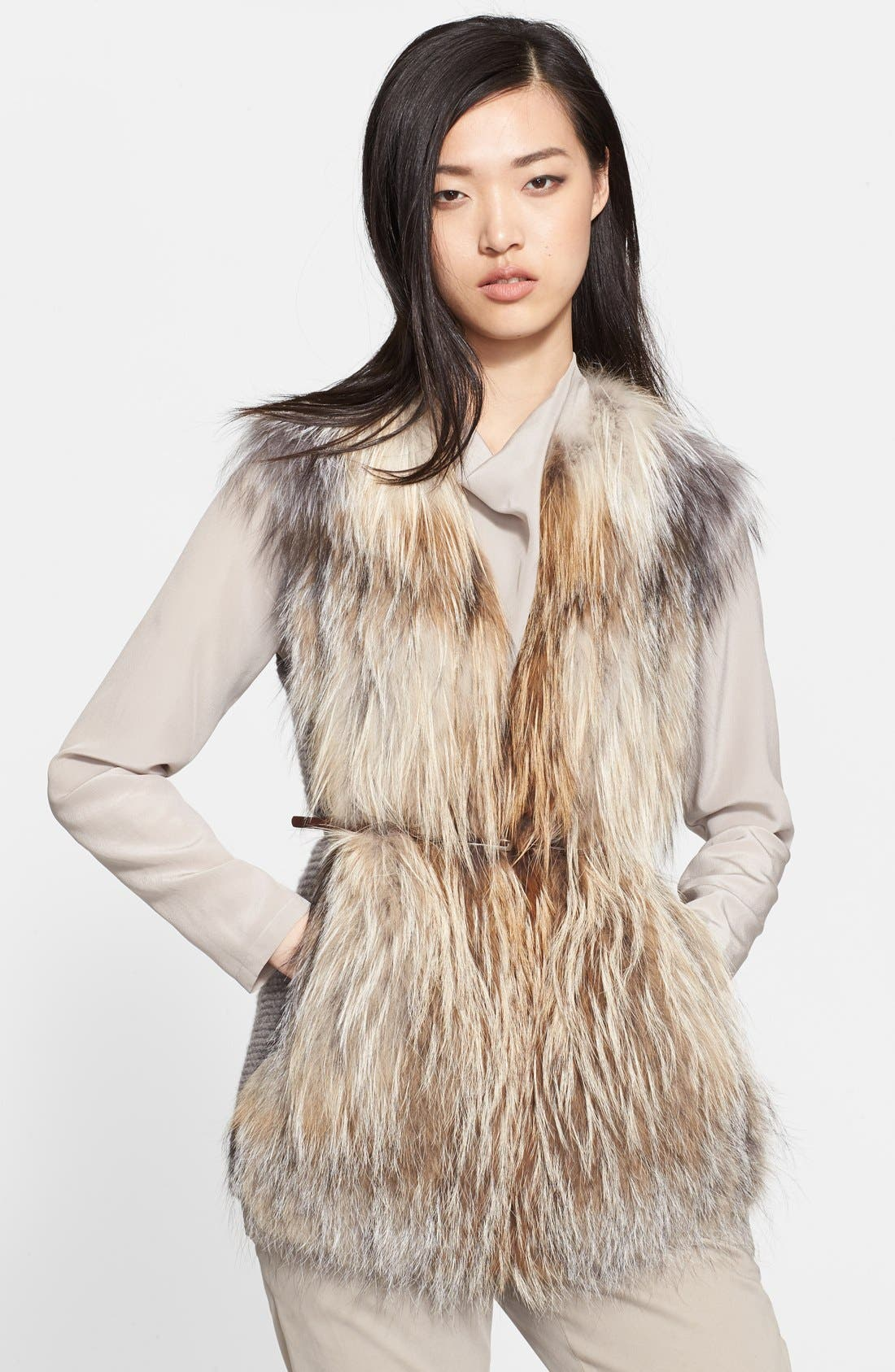 Alternate Image 1 Selected - Fabiana Filippi Genuine Fox Fur Sweater Vest with Leather Belt