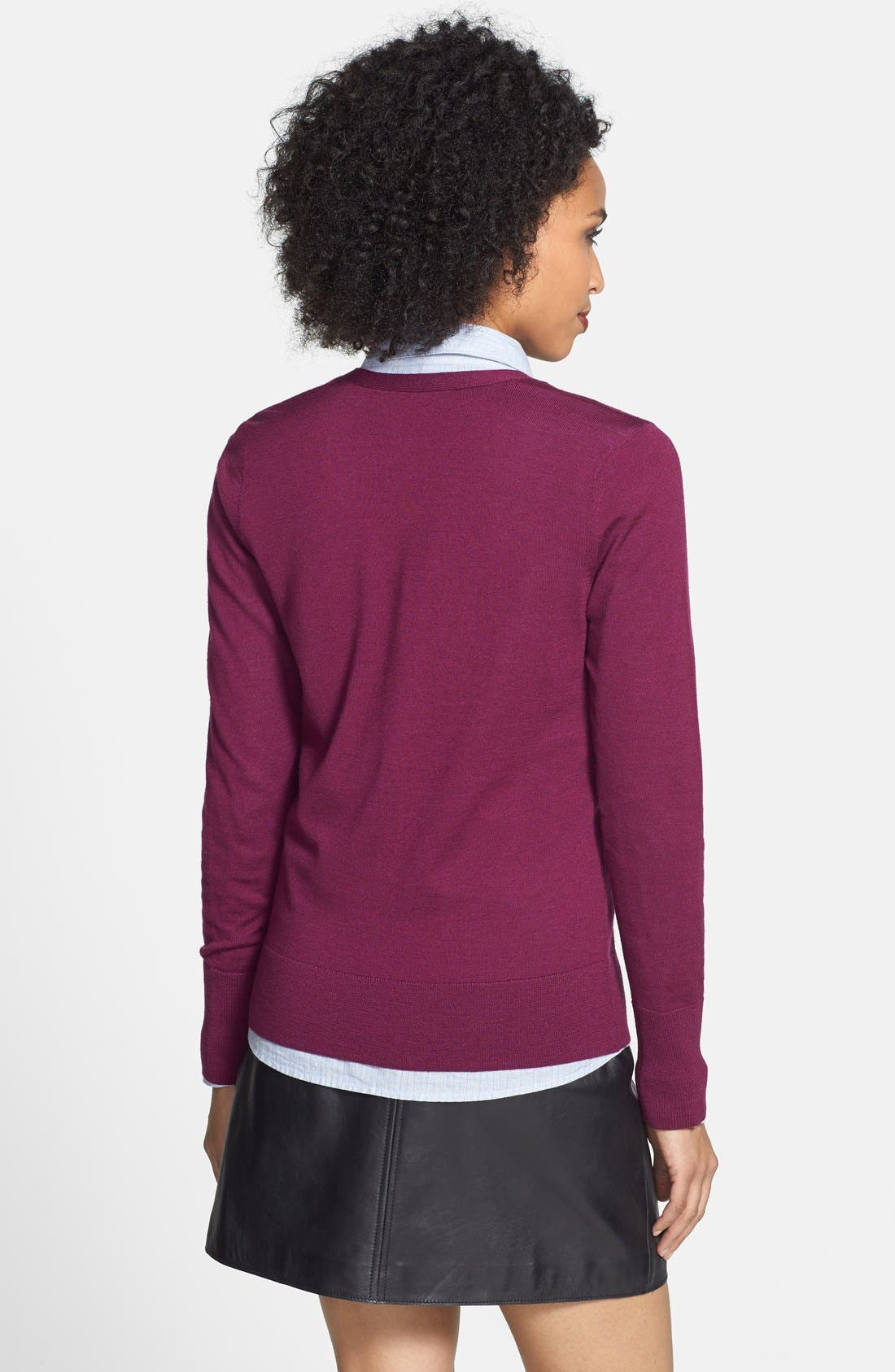 Alternate Image 2  - Halogen® Zip Pocket V-Neck Cardigan (Regular & Petite)