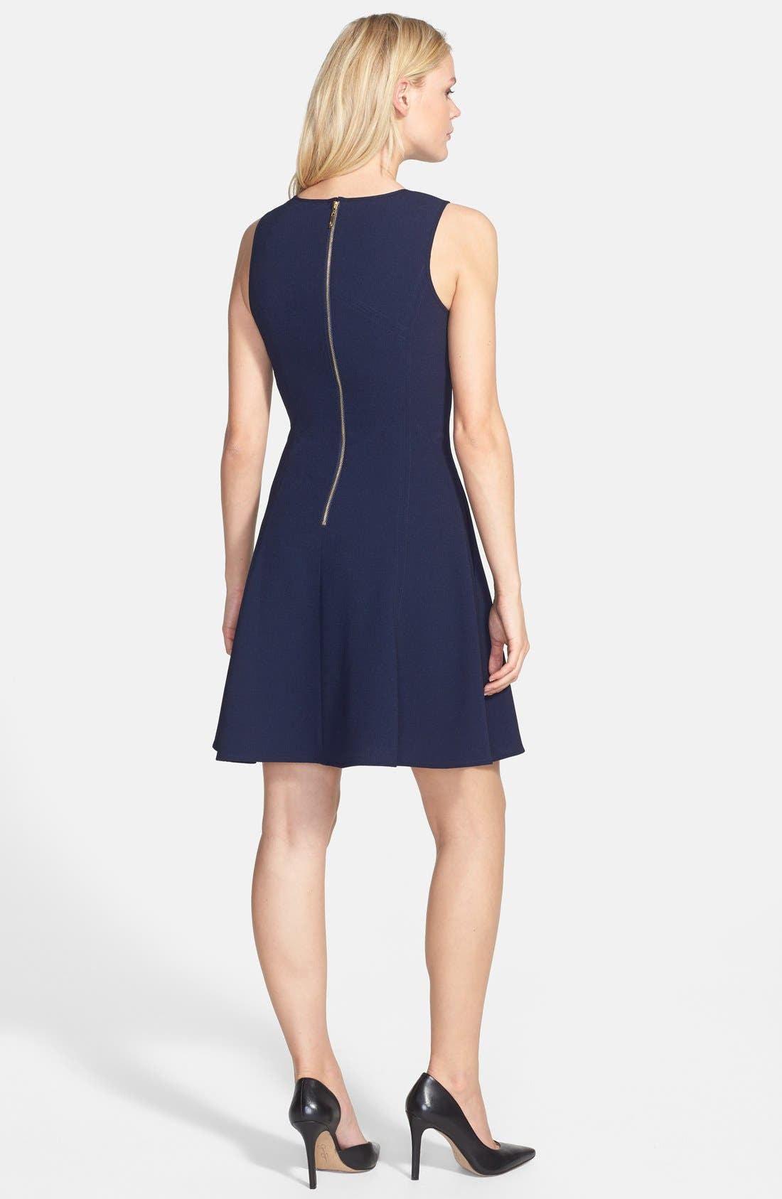 Alternate Image 2  - Eliza J Seamed Double Crepe Fit & Flare Dress