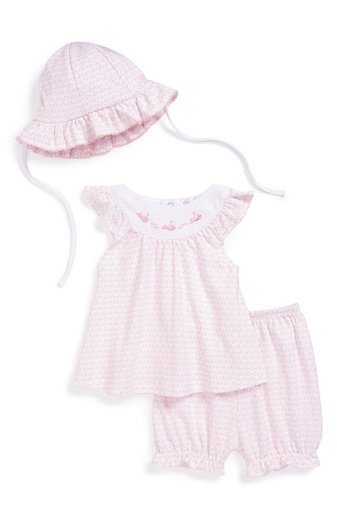 Alternate Image 1 Selected - Kissy Kissy 'Wandering Whales' Pima Cotton Sunsuit & Hat (Baby Girls)