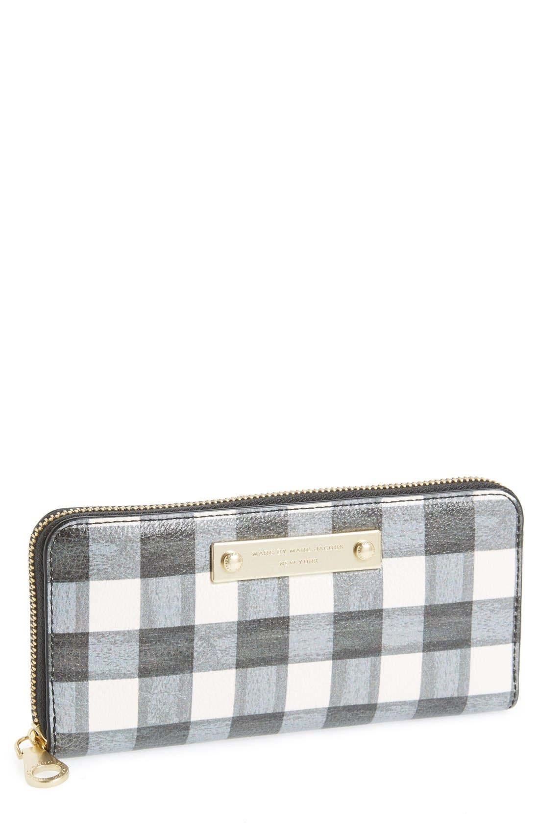 Main Image - MARC BY MARC JACOBS 'Slim' Print Leather Zip Around Wallet