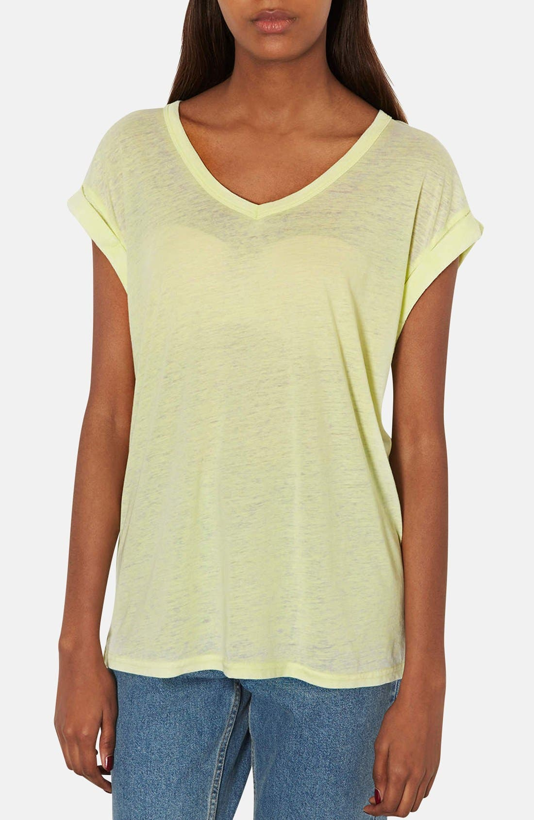 Alternate Image 1 Selected - Topshop Burnout V-Neck Tee