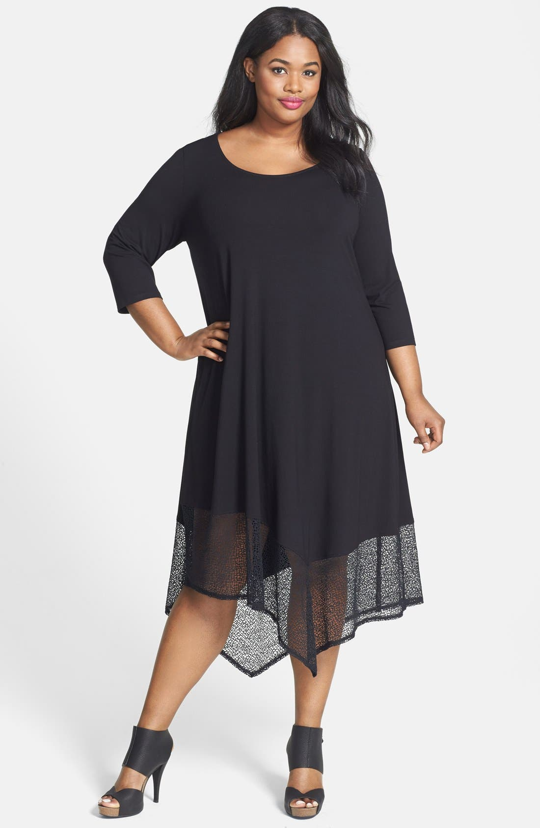 Alternate Image 1 Selected - Eileen Fisher Lace Hem Scoop Neck Jersey Shift Dress (Plus Size)