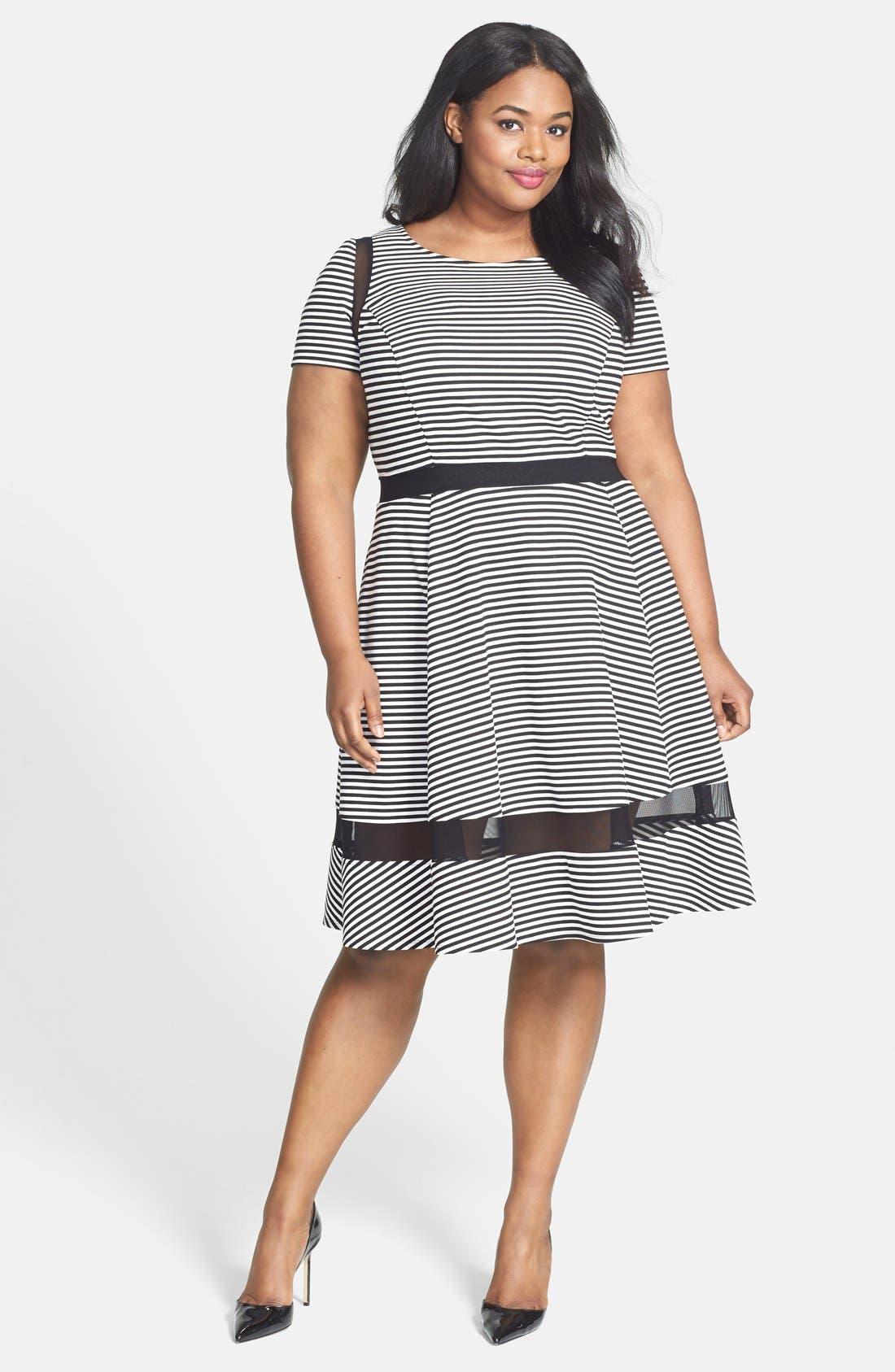 Main Image - ABS by Allen Schwartz Mesh Inset Stripe Fit & Flare Dress (Plus Size)