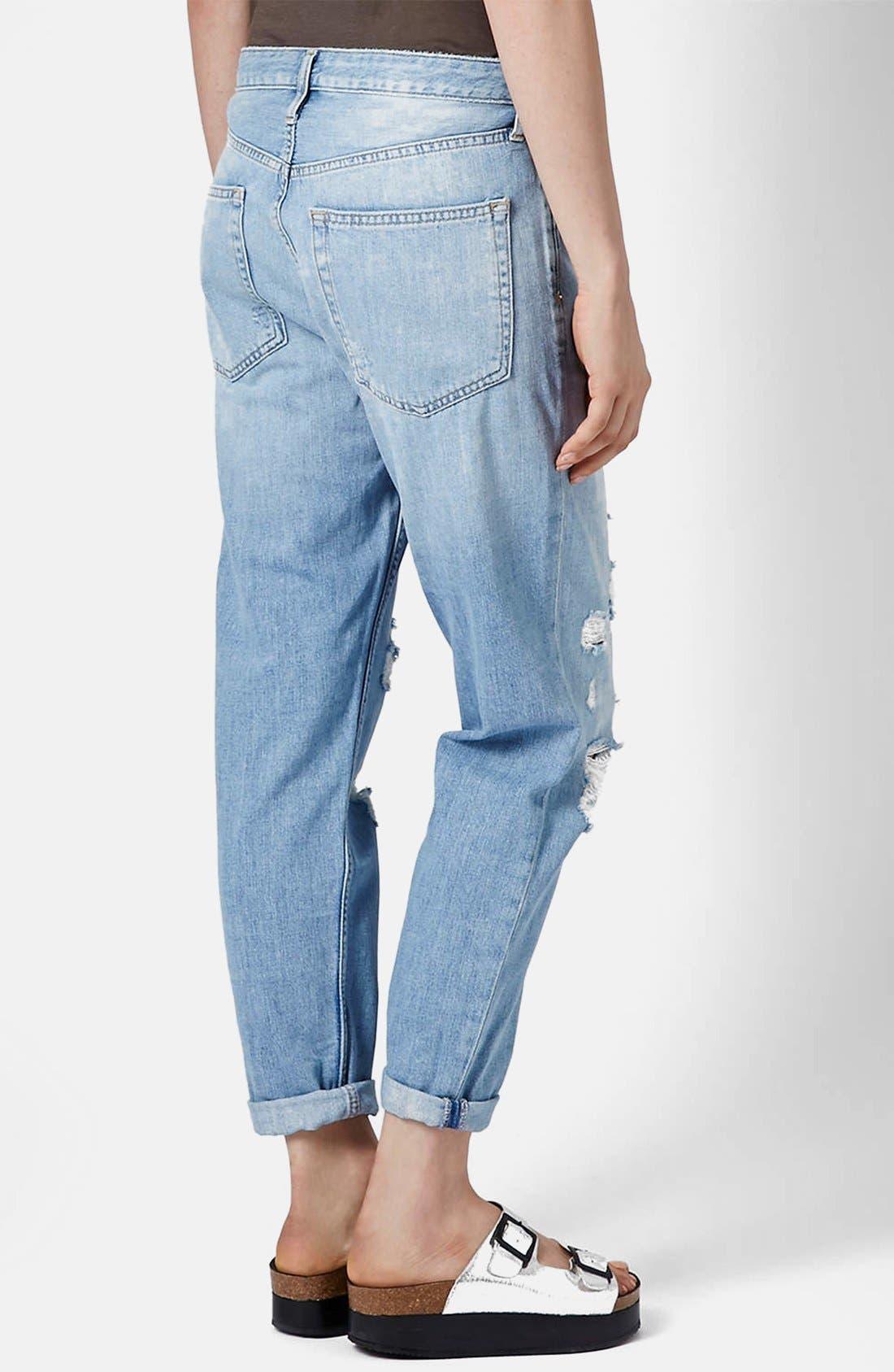 Alternate Image 2  - Topshop Moto Destroyed Boyfriend Jeans (Light Denim)