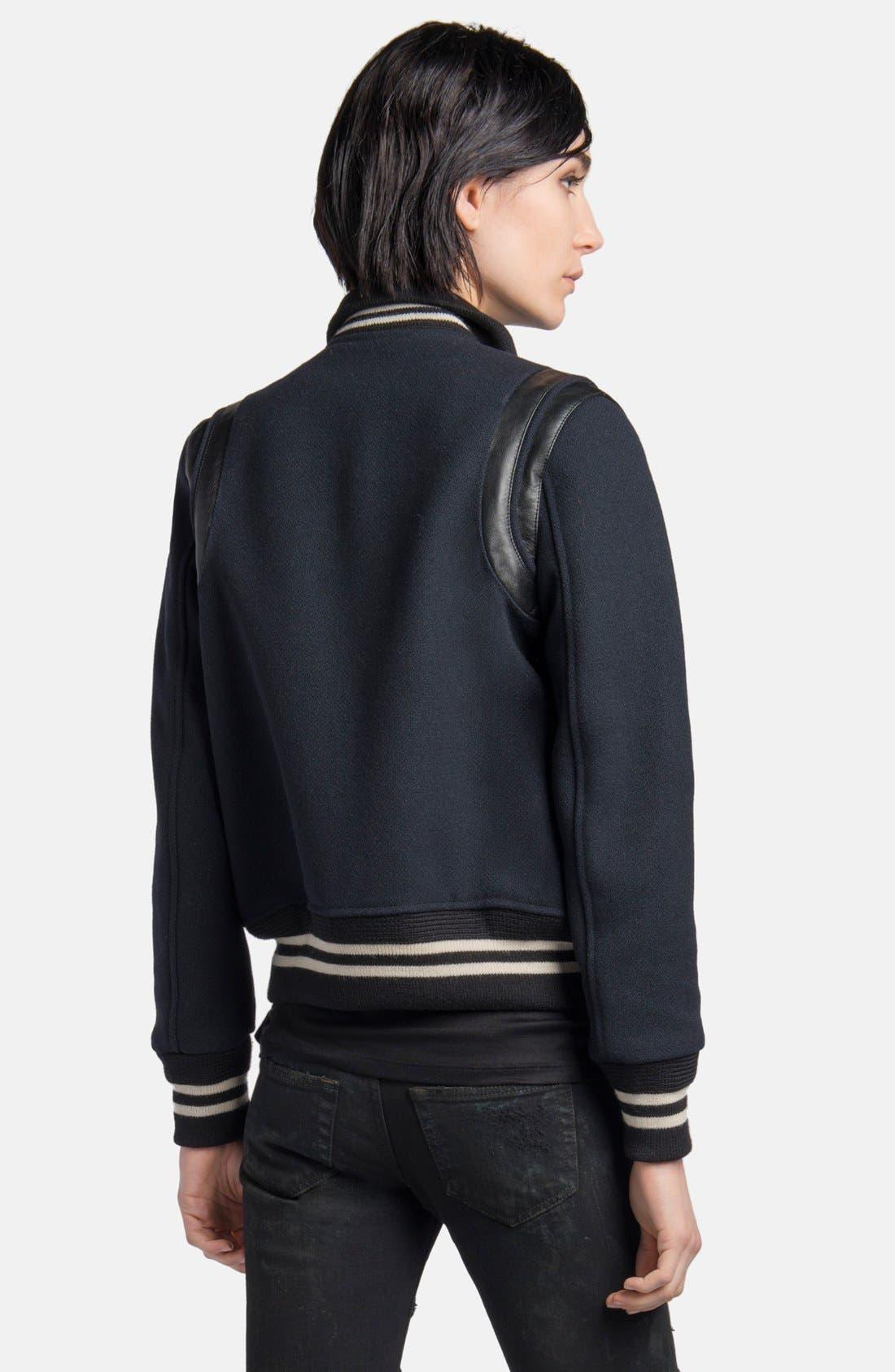 Alternate Image 2  - Saint Laurent 'Teddy' Leather Trim Bomber Jacket