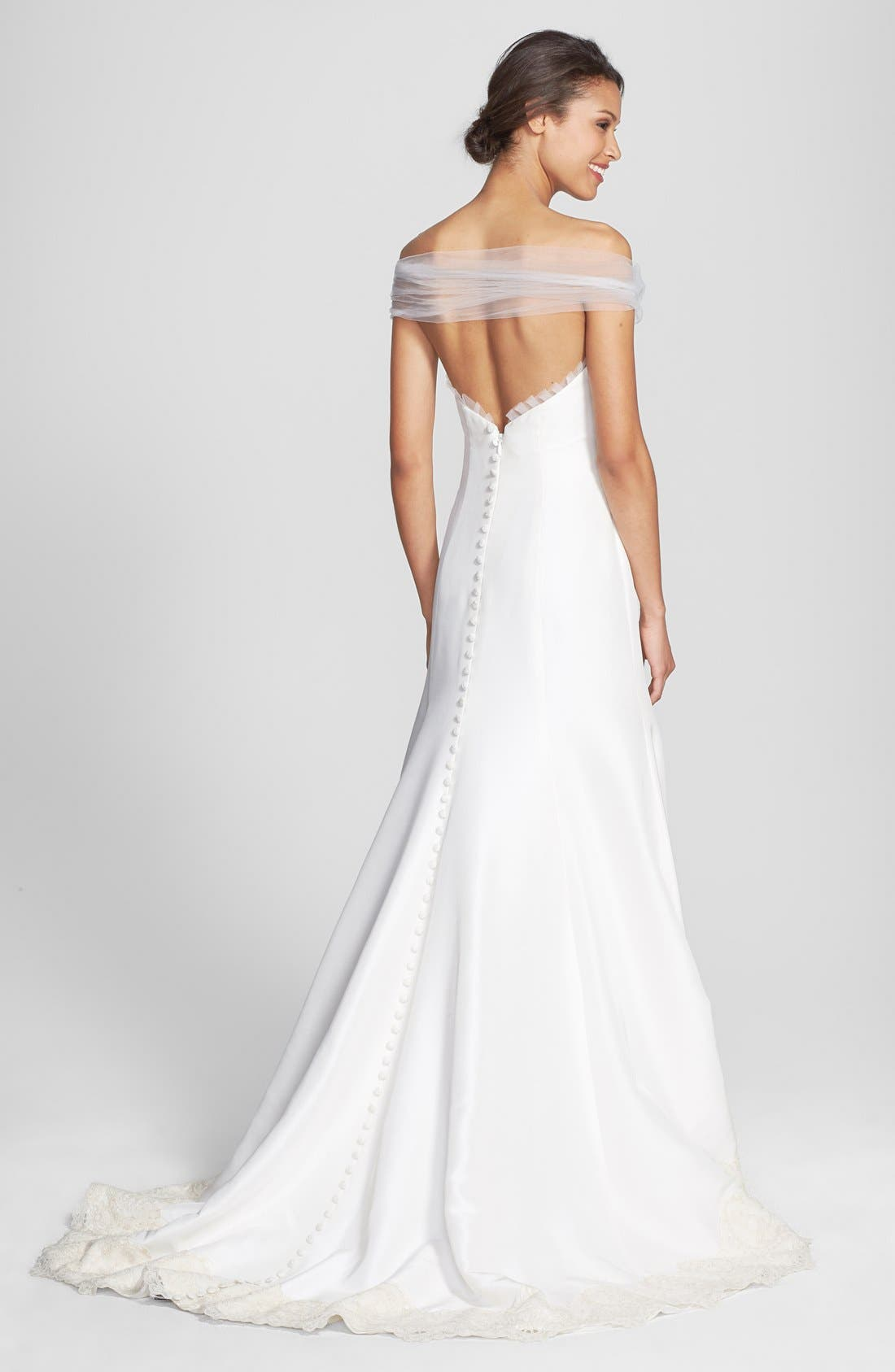Alternate Image 2  - Olia Zavozina 'Savannah' Removable Illusion Halter Lace Trim Silk Shantung Gown (In Stores Only)