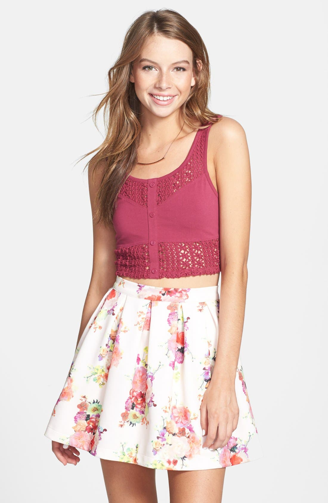Alternate Image 1 Selected - Hot & Delicious Floral Print Skater Skirt (Juniors)