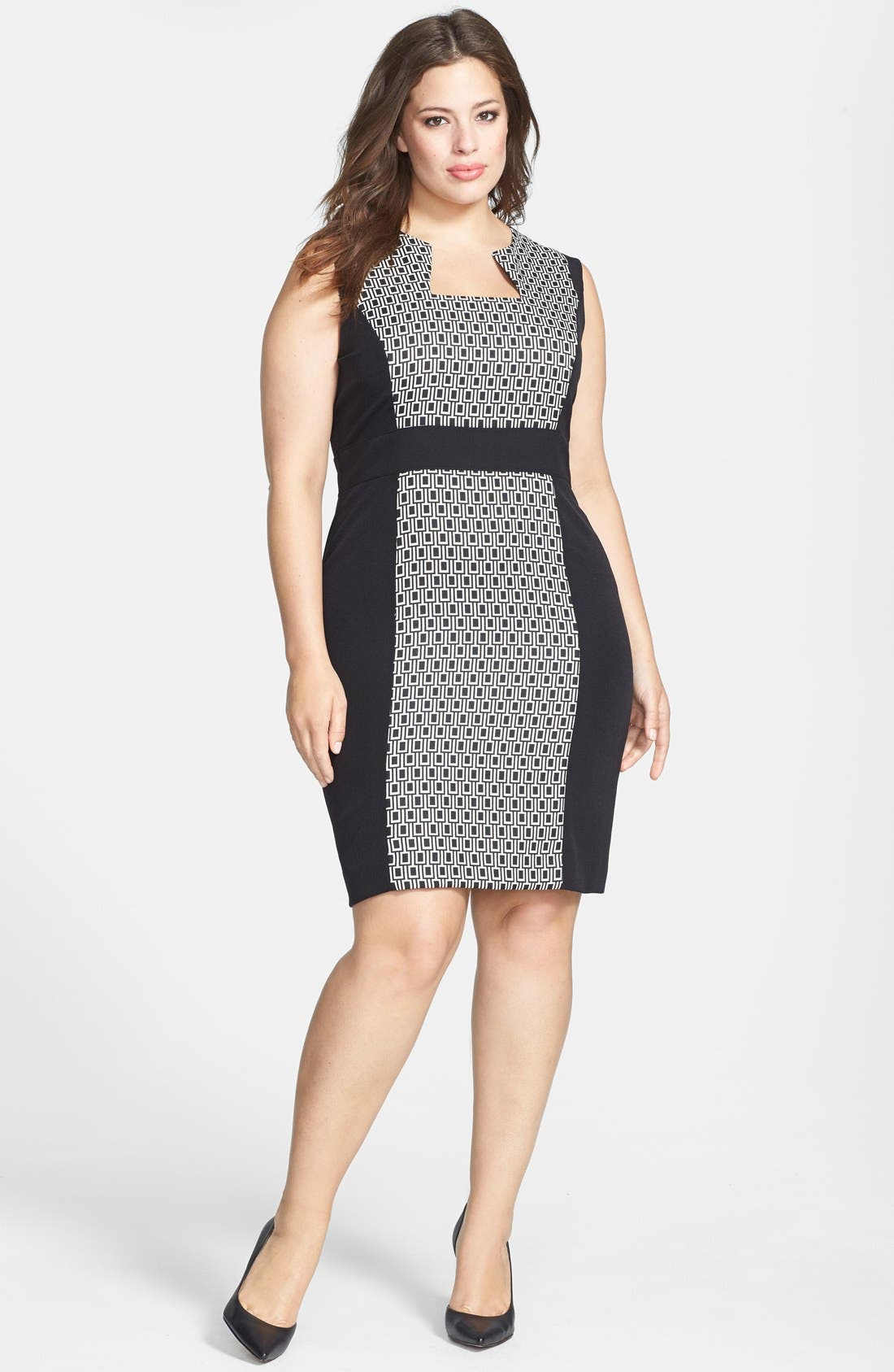 Main Image - Tahari by ASL Print Panel Sheath Dress (Plus Size)