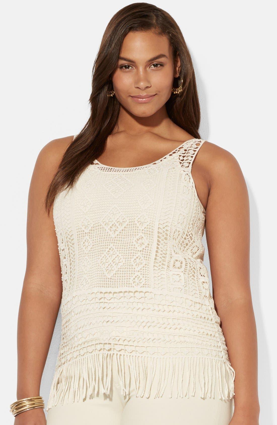 Alternate Image 1 Selected - Lauren Ralph Lauren Fringed Cotton Crochet Tank with Camisole (Plus Size)