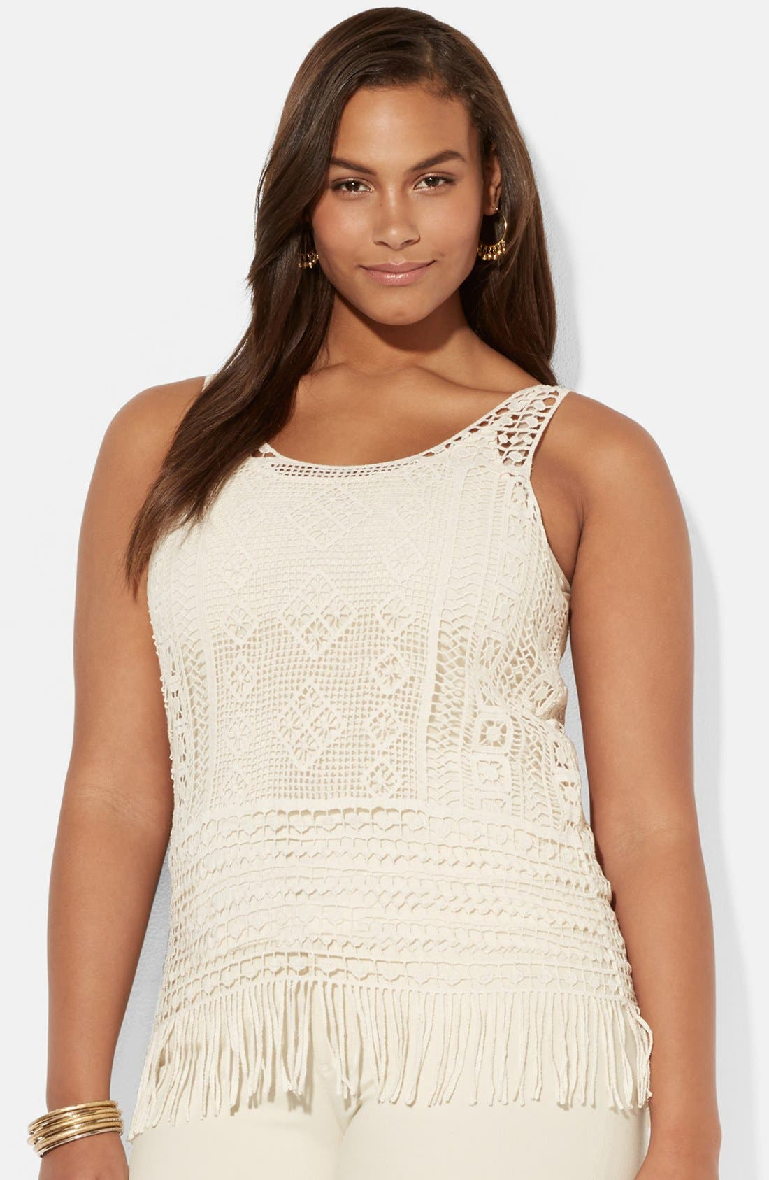 Main Image - Lauren Ralph Lauren Fringed Cotton Crochet Tank with Camisole (Plus Size)