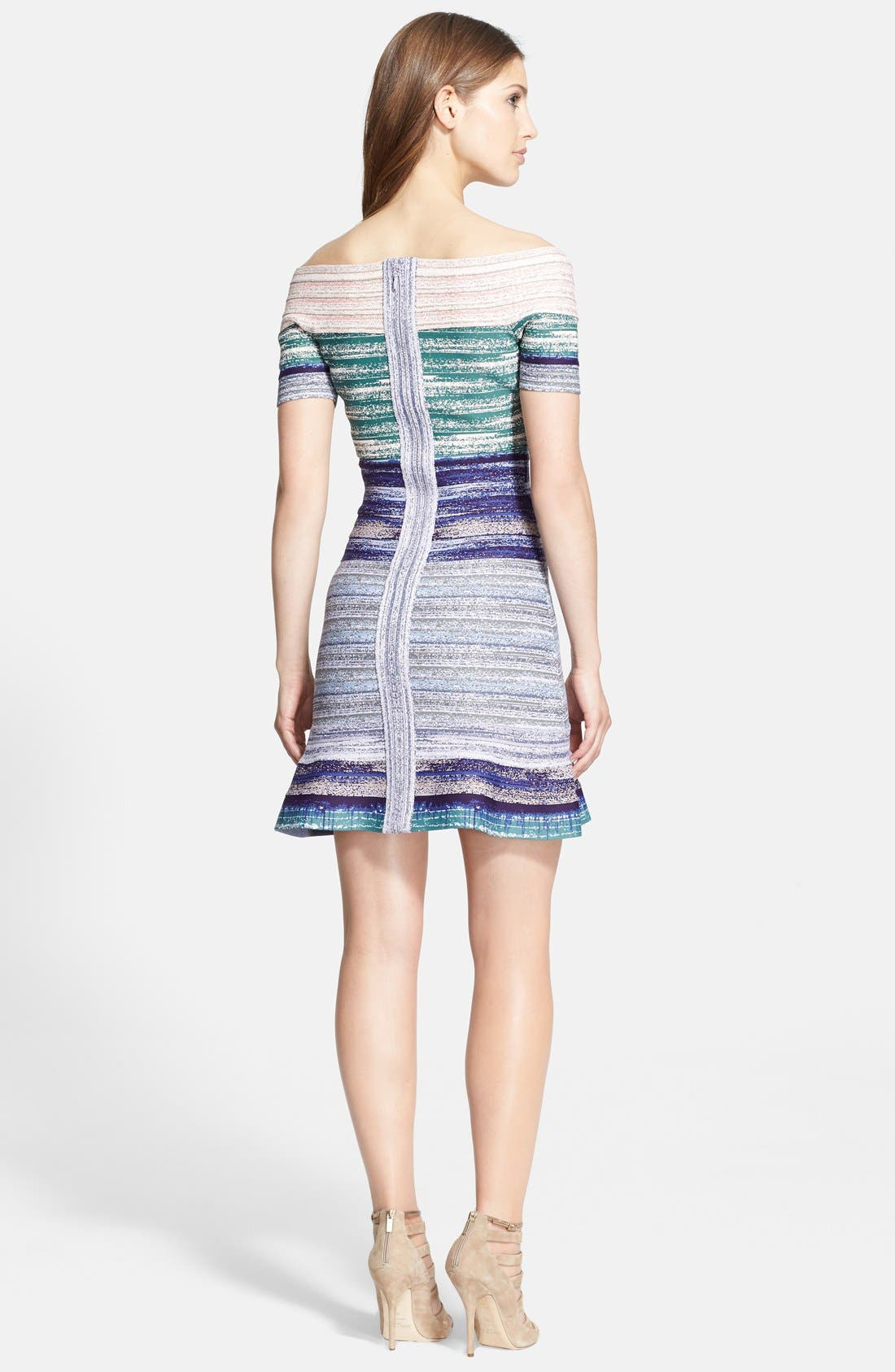 Alternate Image 2  - Herve Leger Off-Shoulder Flared Dress