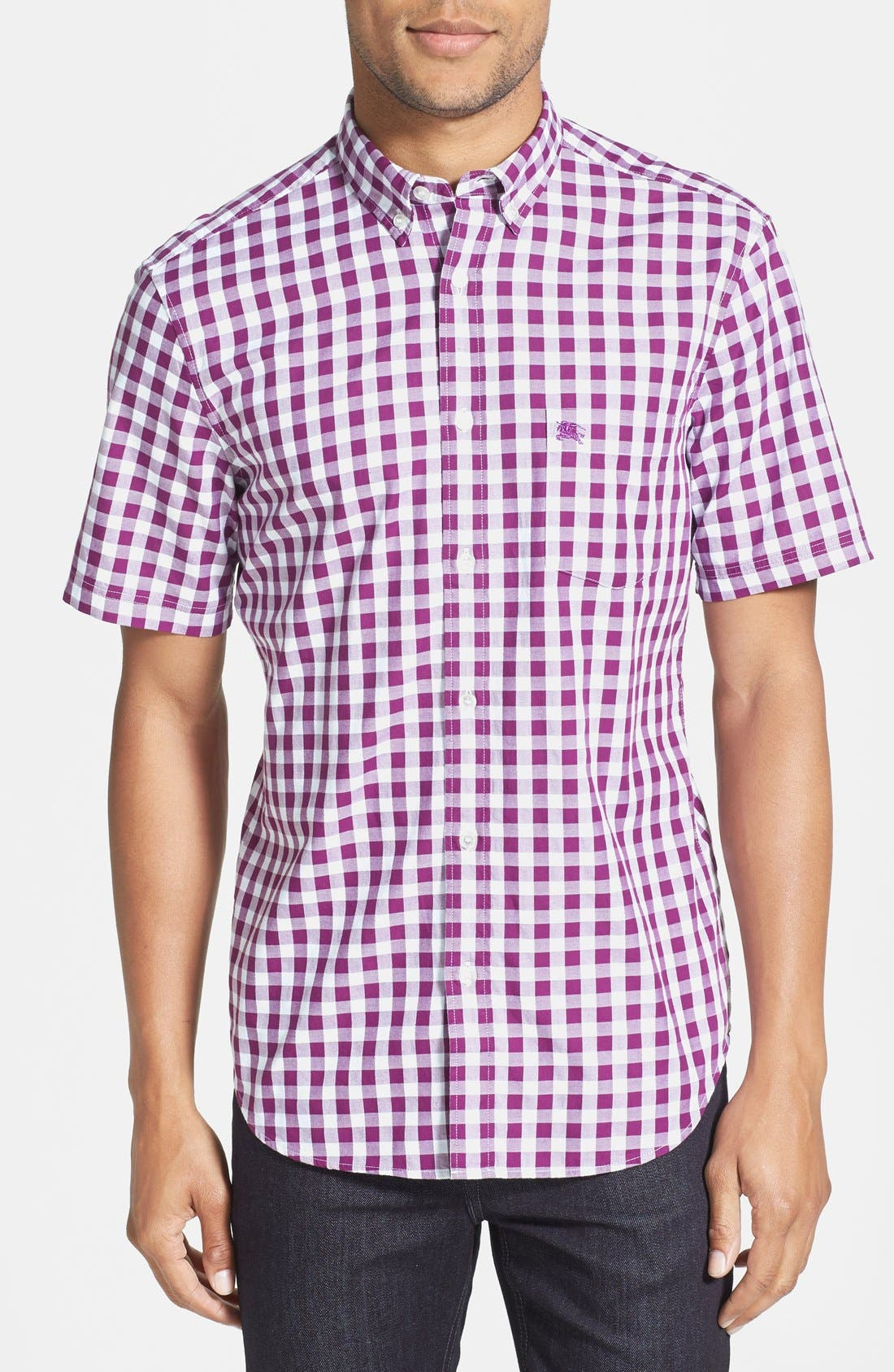 Alternate Image 1 Selected - Burberry Brit 'Fred' Trim Fit Short Sleeve Gingham Sport Shirt