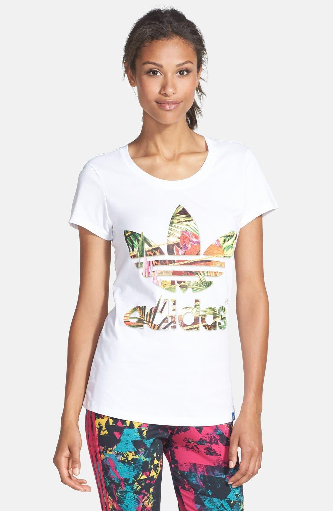 Main Image - adidas Originals Graphic Flower Trefoil Tee