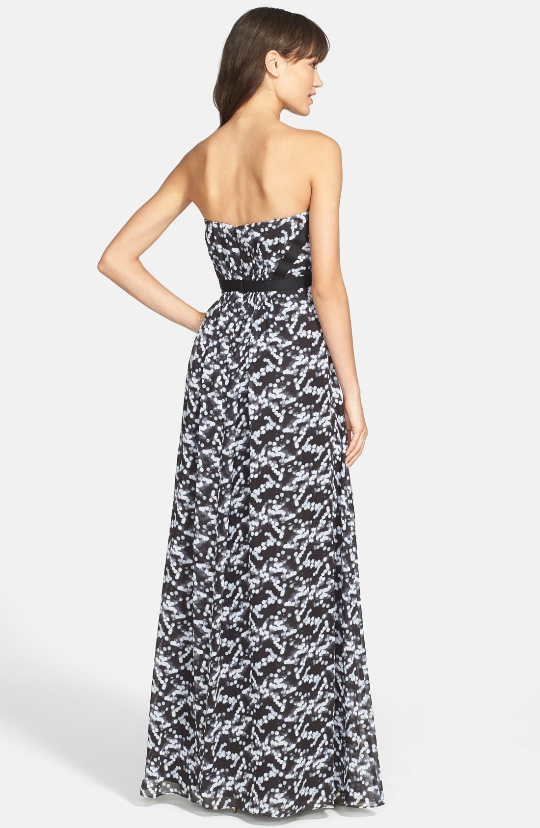 Alternate Image 2  - Hailey by Adrianna Papell Print Strapless Chiffon Gown