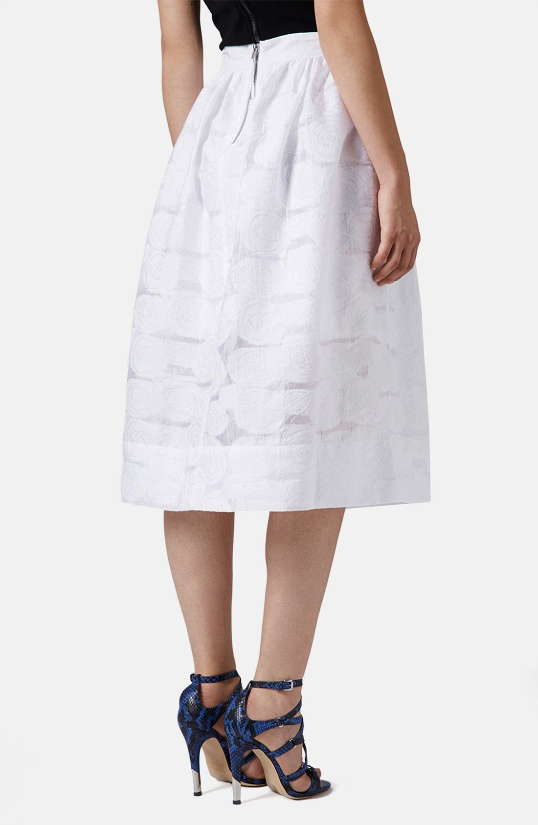 Alternate Image 2  - Topshop Rose Jacquard Midi Skirt