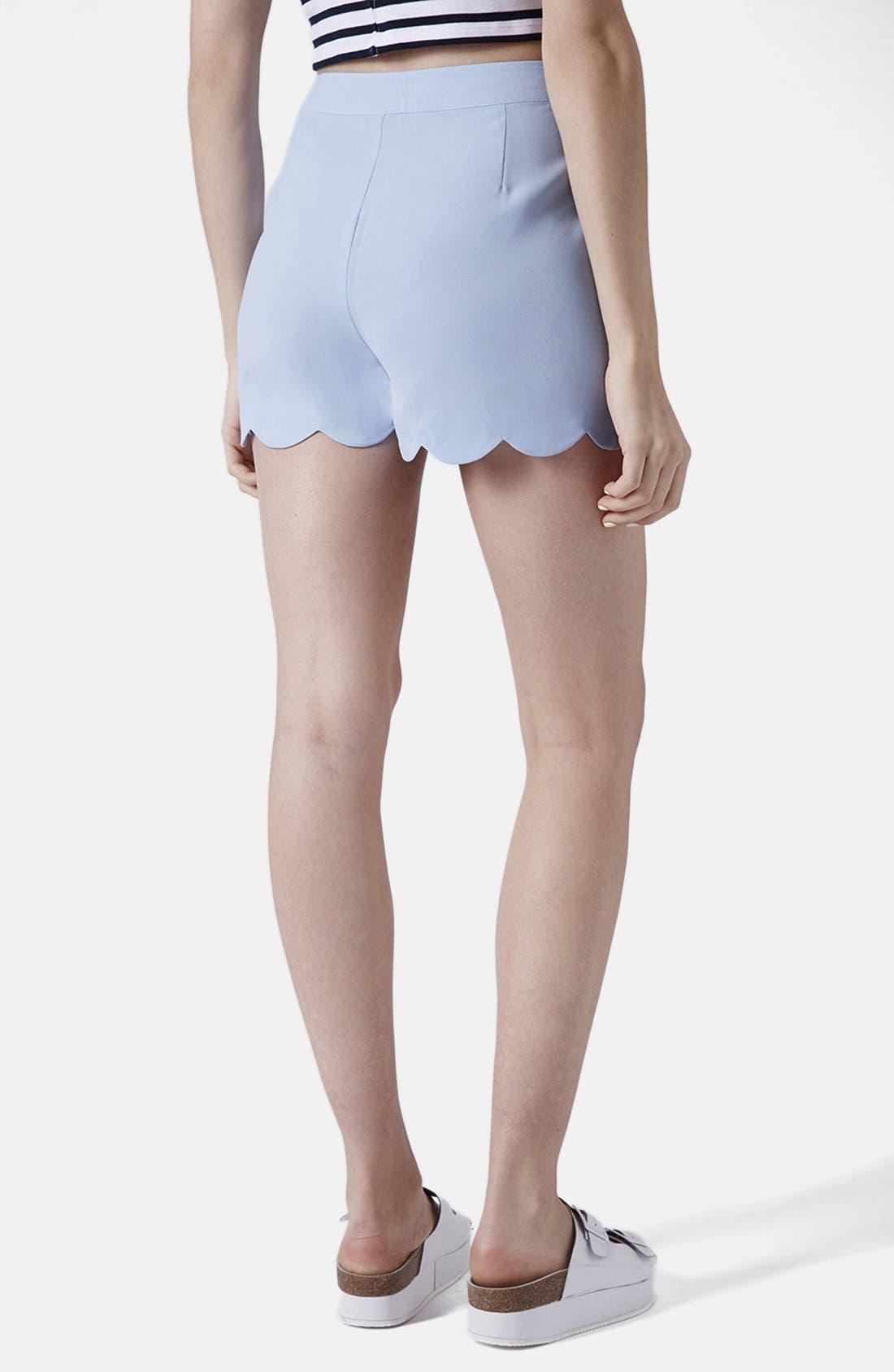 Alternate Image 2  - Topshop Scallop Hem Crepe Shorts