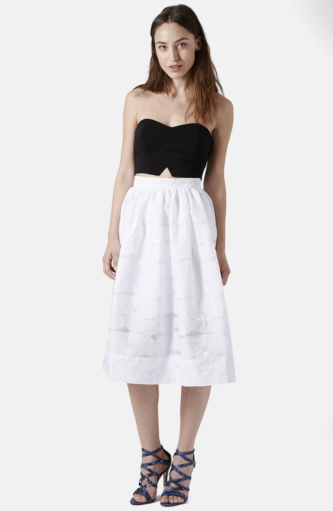 Alternate Image 5  - Topshop Rose Jacquard Midi Skirt