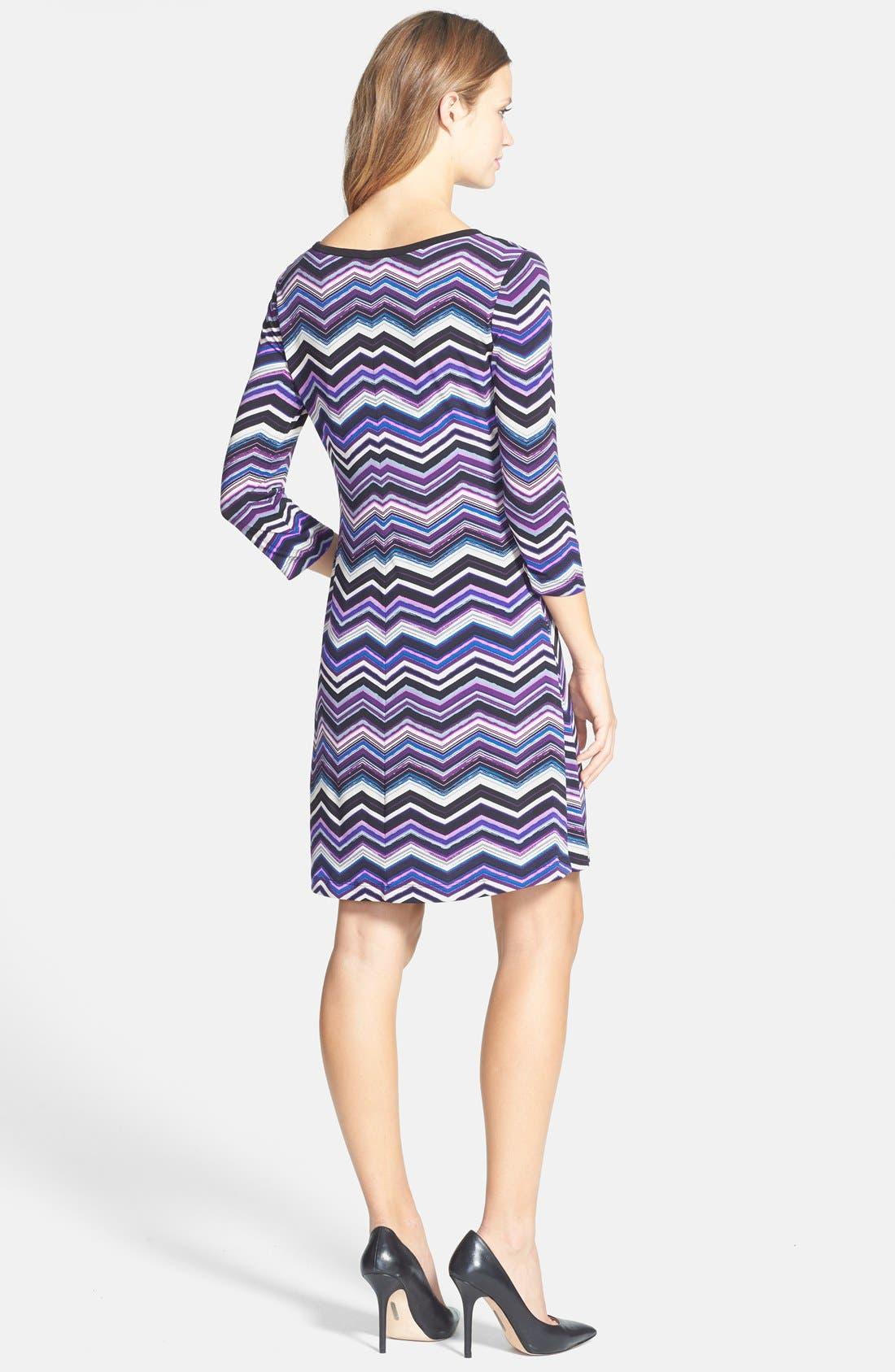 Alternate Image 2  - Eliza J Zigzag Print A-Line Dress (Petite)