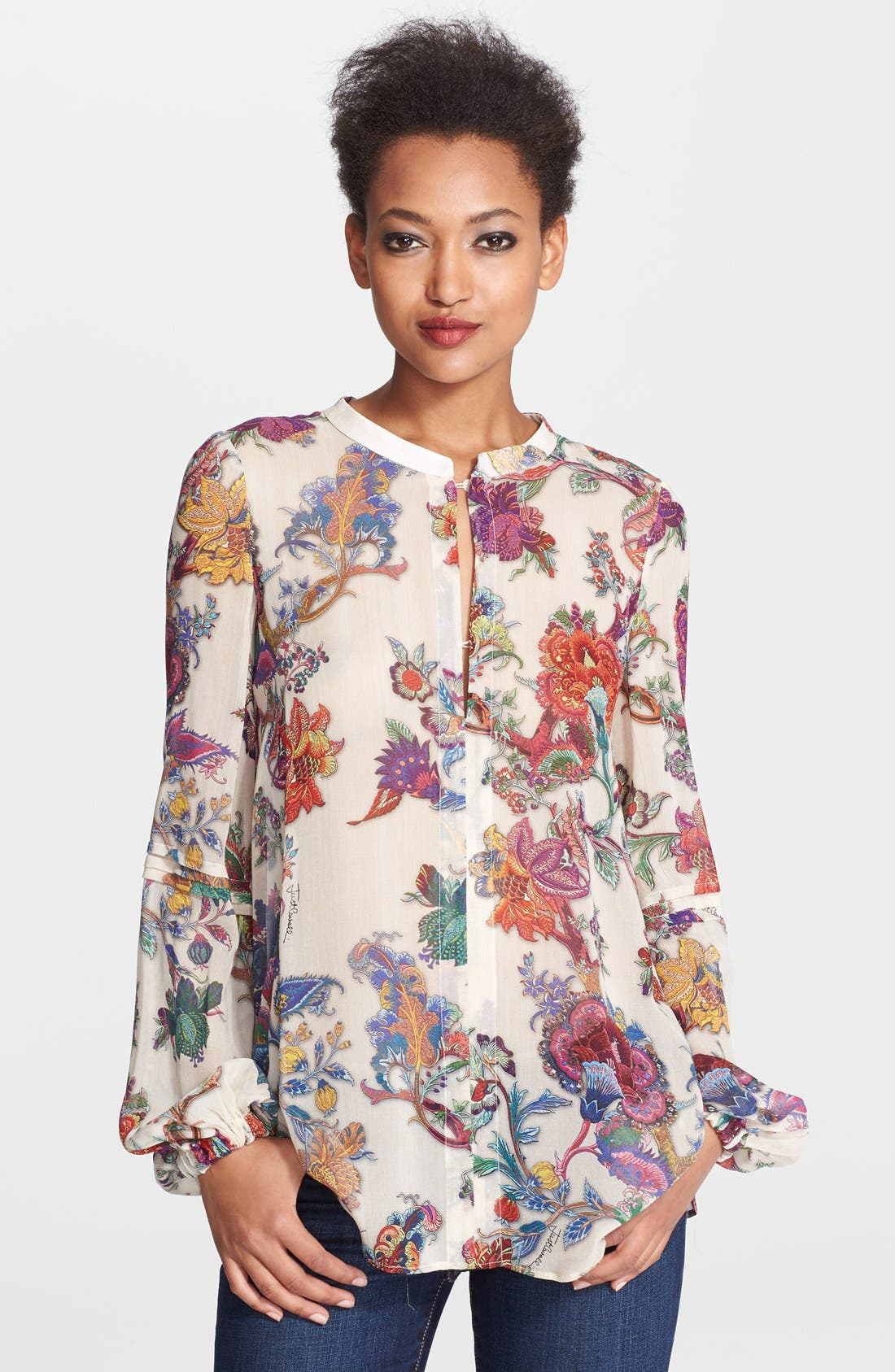 Alternate Image 1 Selected - Just Cavalli Floral Print Silk Blouse