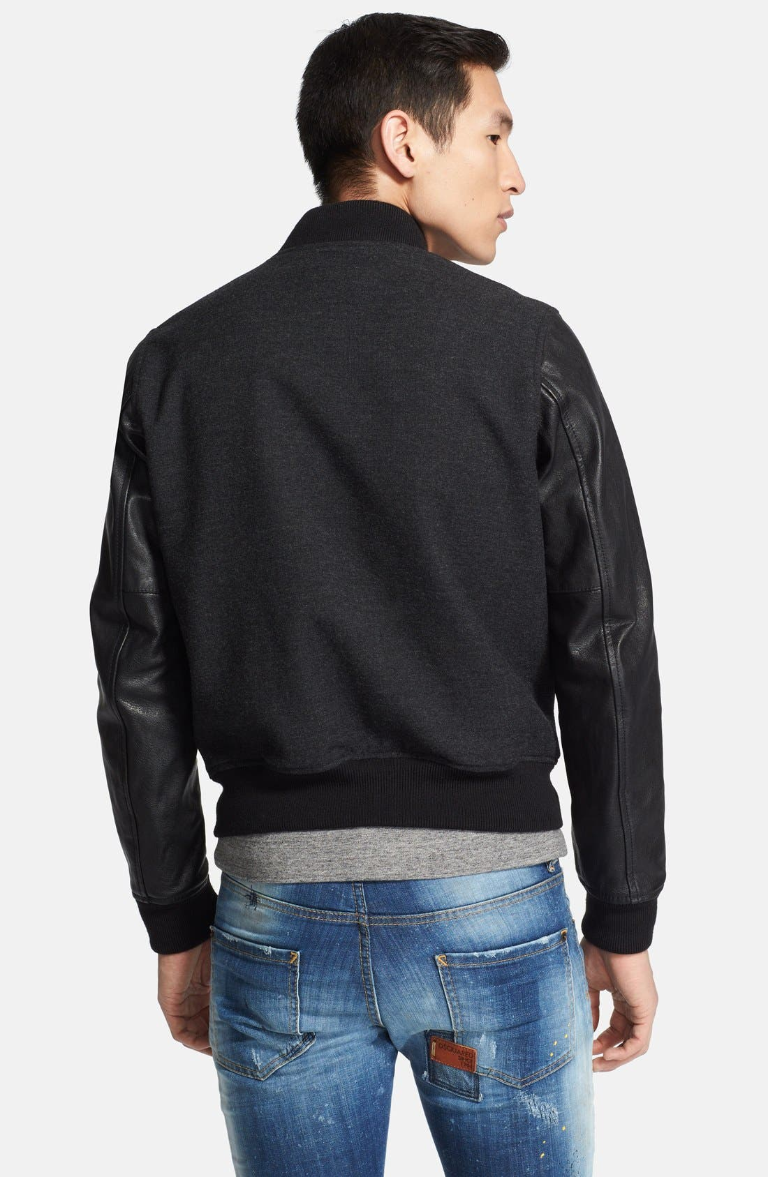 Alternate Image 2  - Dsquared2 Virgin Wool Bomber Jacket with Leather Sleeves