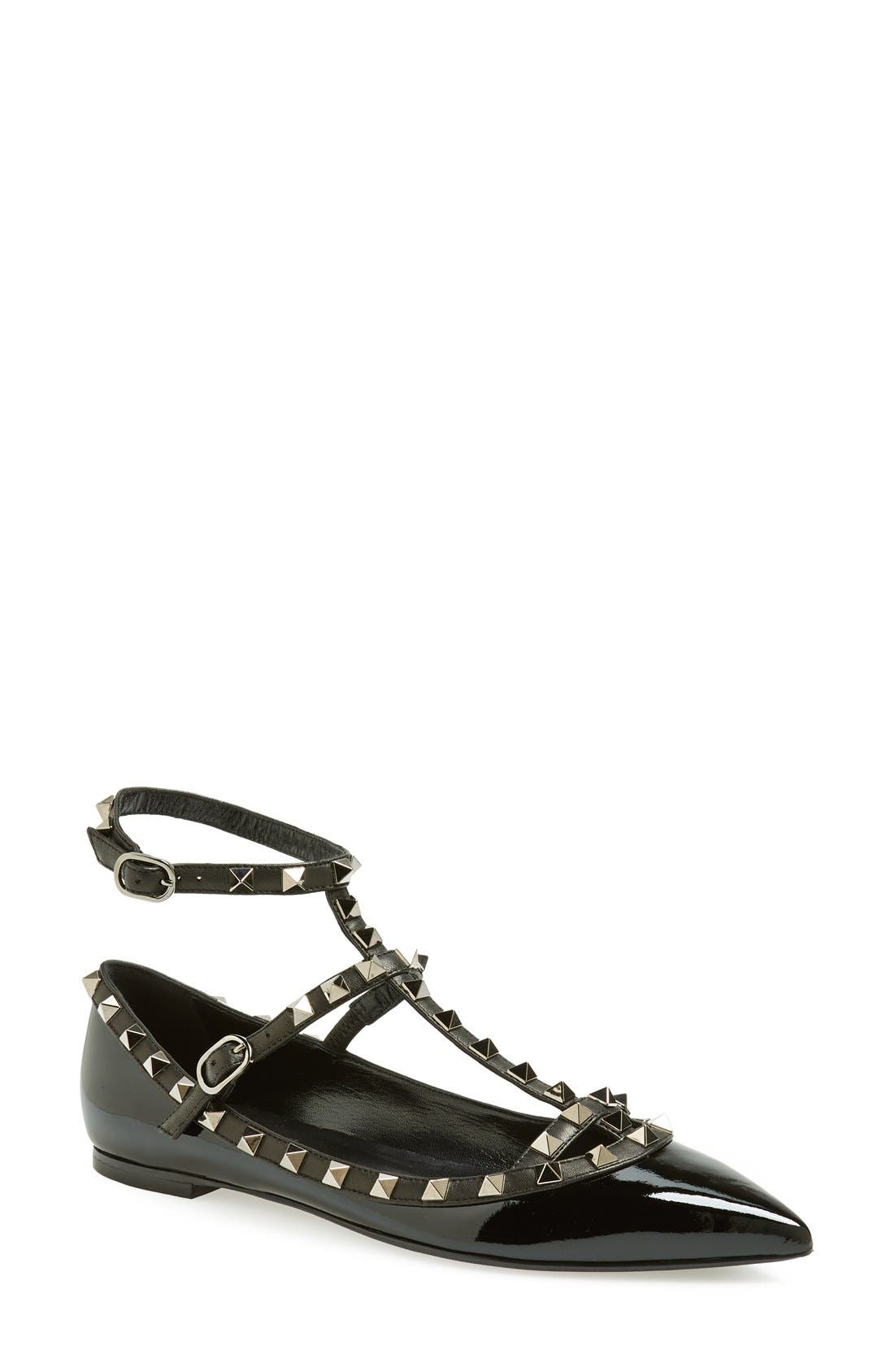 Main Image - Valentino 'Noir Rockstud' Double Ankle Strap Patent Leather Pointy Toe Flat (Women)