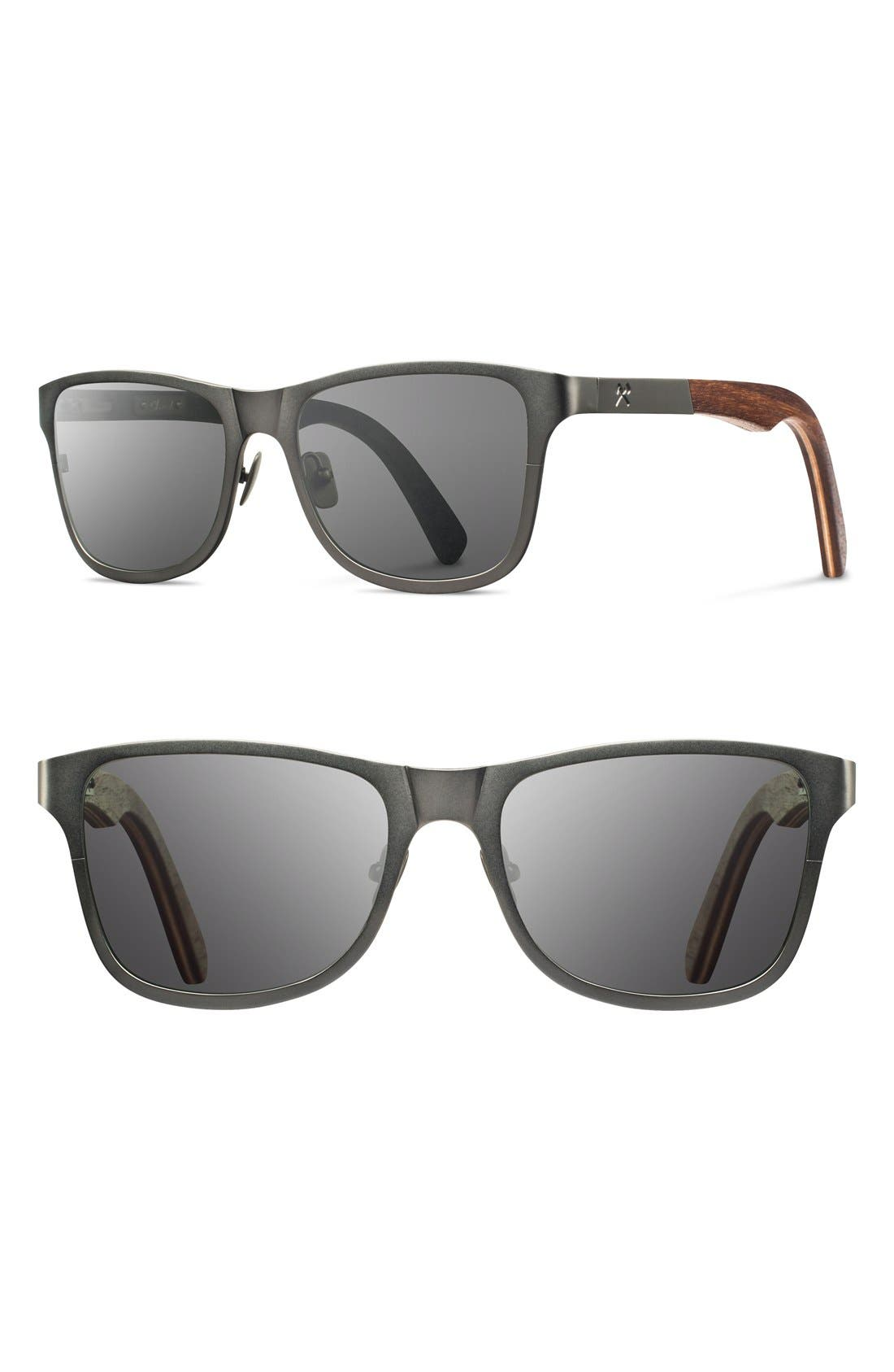 Shwood 'Canby' 54mm Titanium & Wood Sunglasses