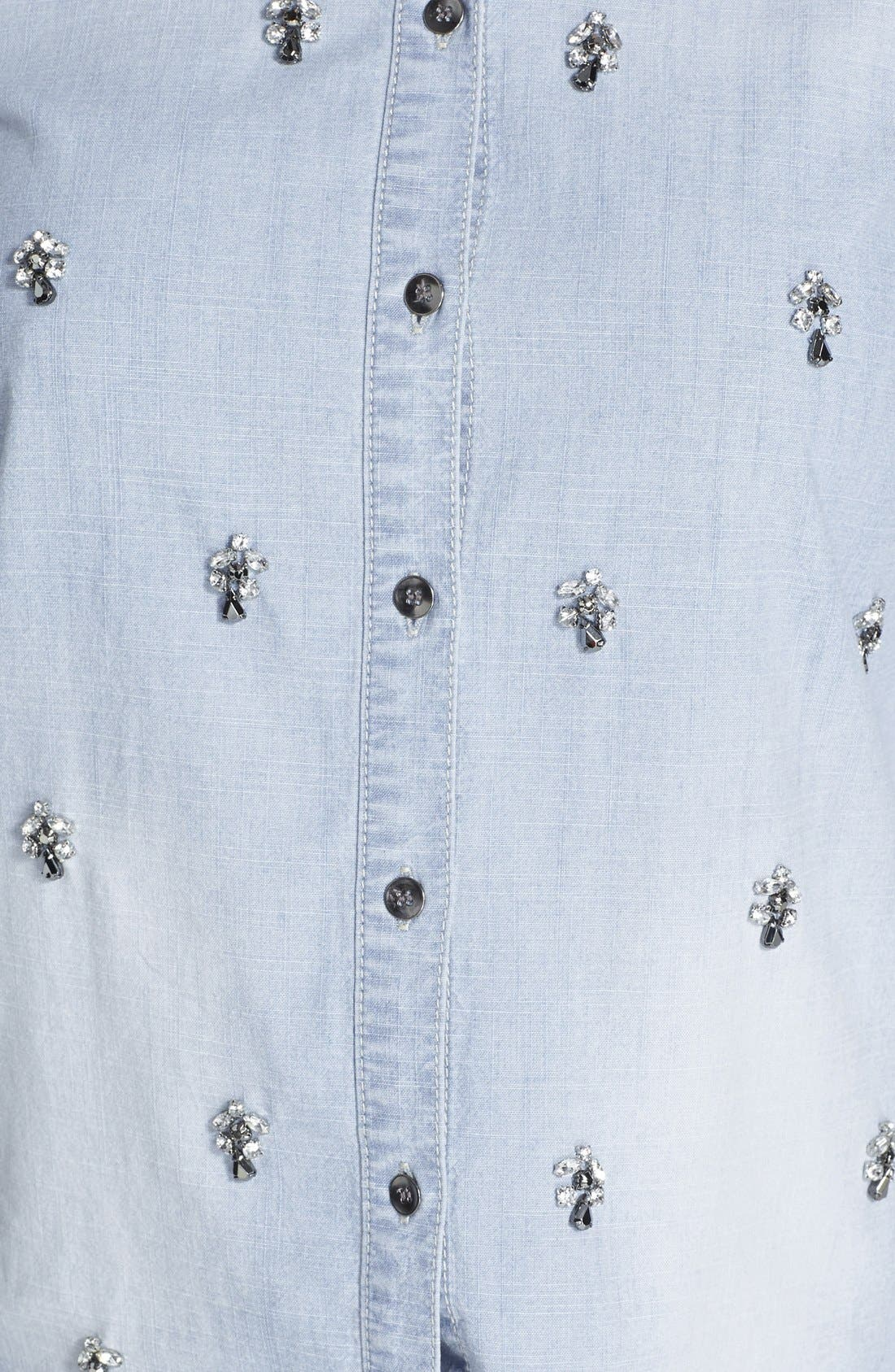 Alternate Image 3  - Halogen® Embellished Denim Shirt (Regular & Petite)