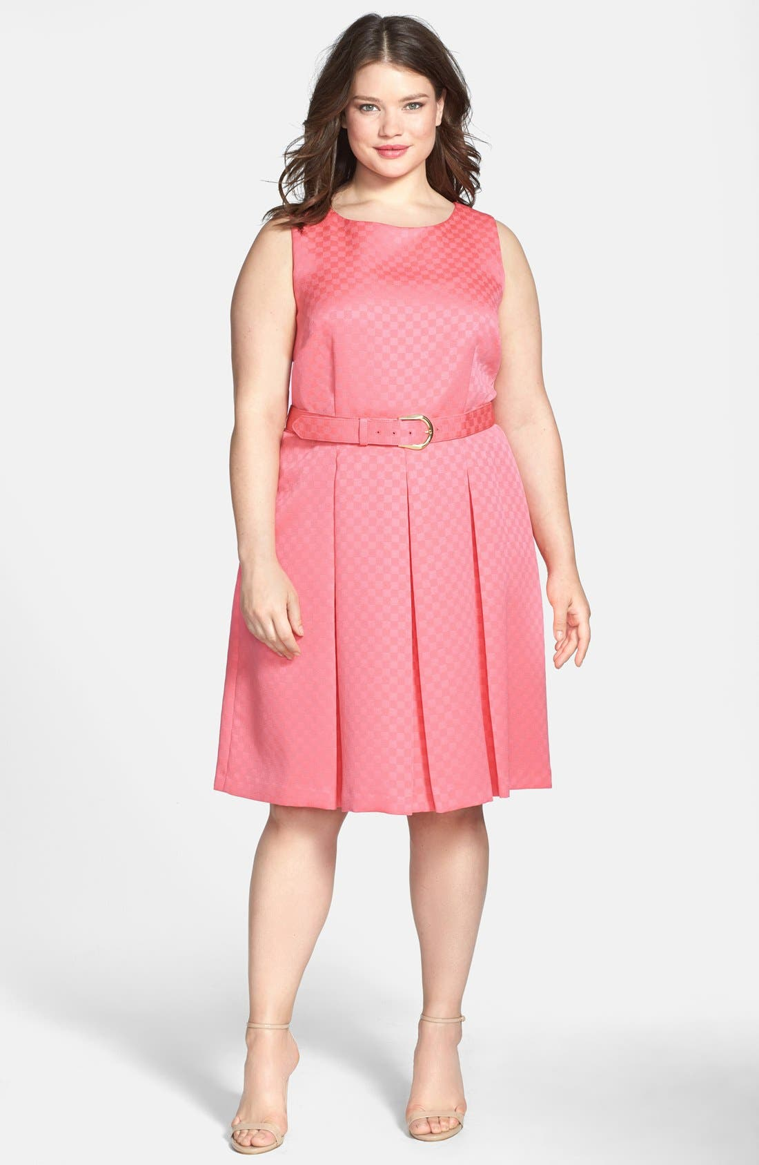 Alternate Image 1 Selected - Tahari by ASL Belted Jacquard Pleat Fit & Flare Dress (Plus Size)