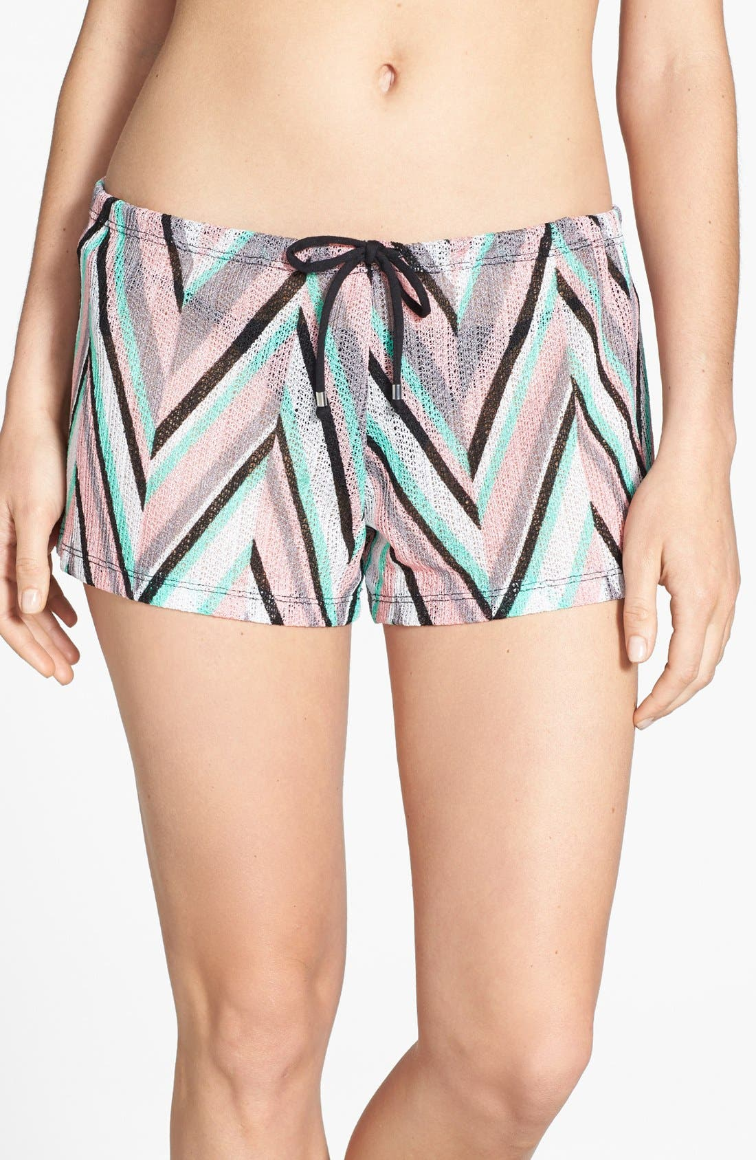 Main Image - Becca 'Stay Connected' Chevron Cover-Up Shorts