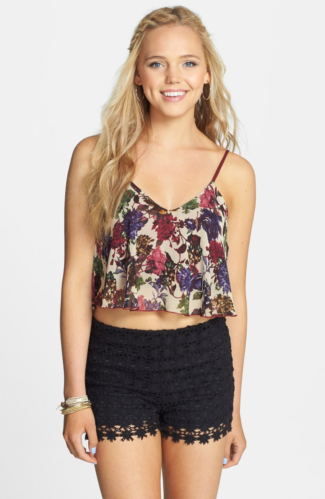 Alternate Image 1 Selected - Lovely Day Floral Crop Tank (Juniors)