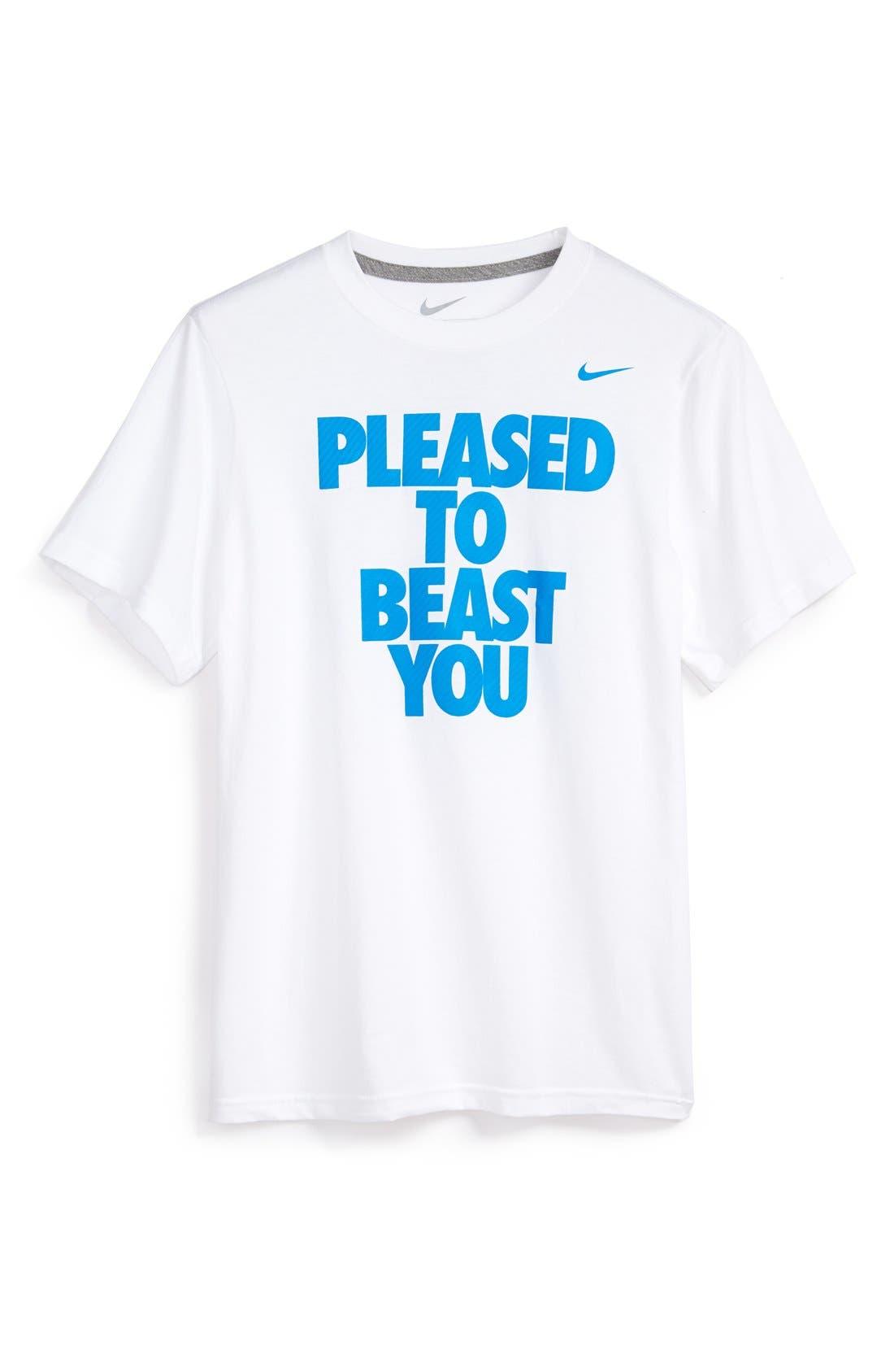 Main Image - Nike 'Pleased to Beast You' Short Sleeve Cotton T-Shirt (Big Boys)