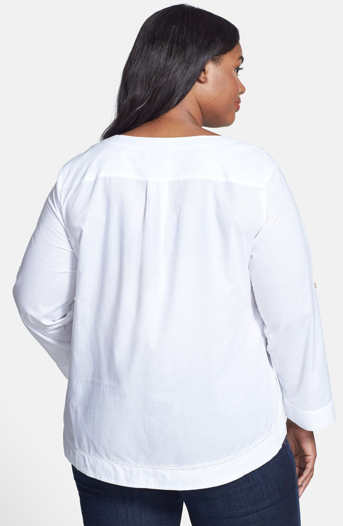 Alternate Image 2  - Anne Klein Lace-Up Cotton Top (Plus Size)