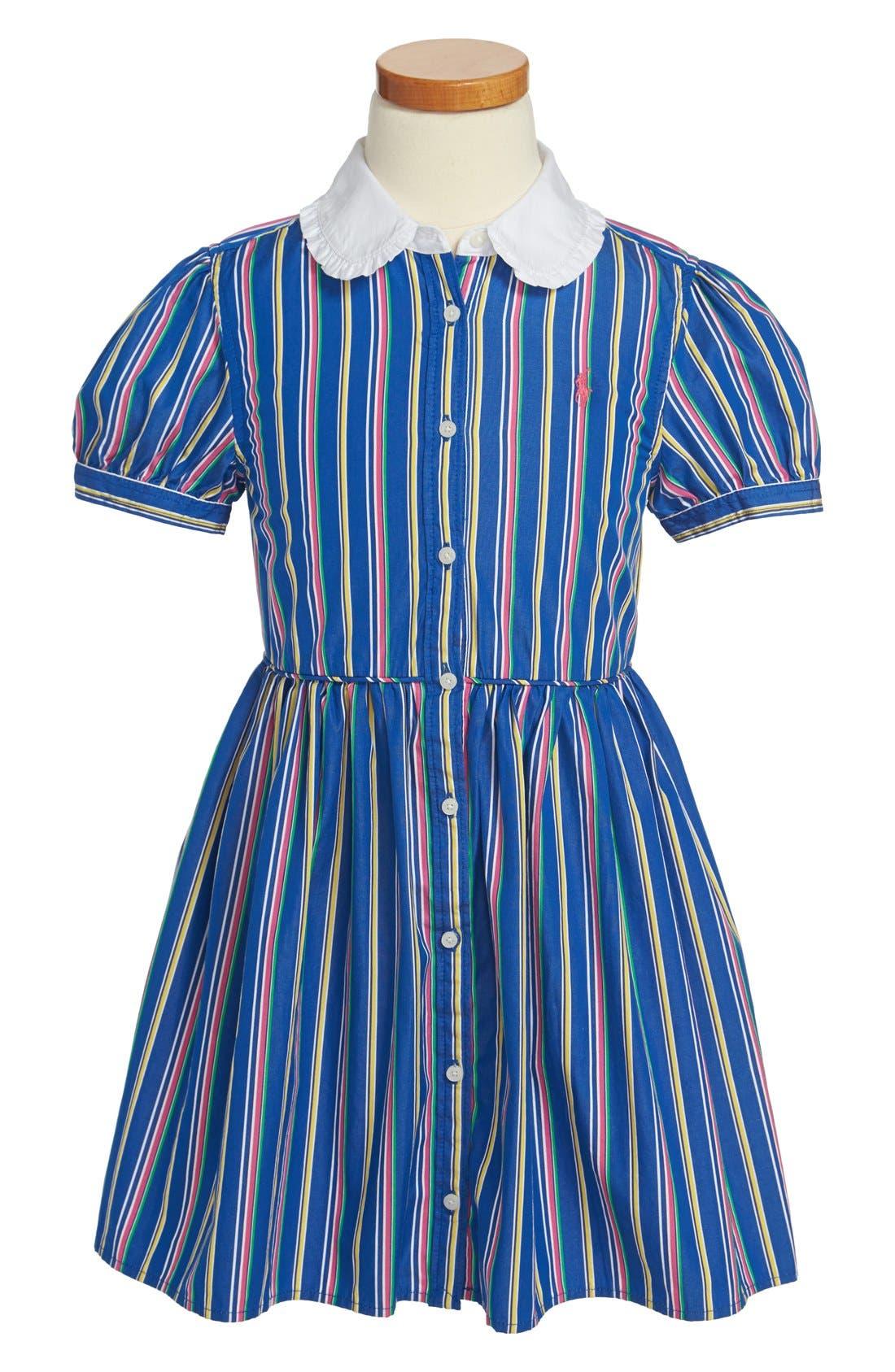 Main Image - Ralph Lauren Stripe Cotton Shirtdress (Little Girls)