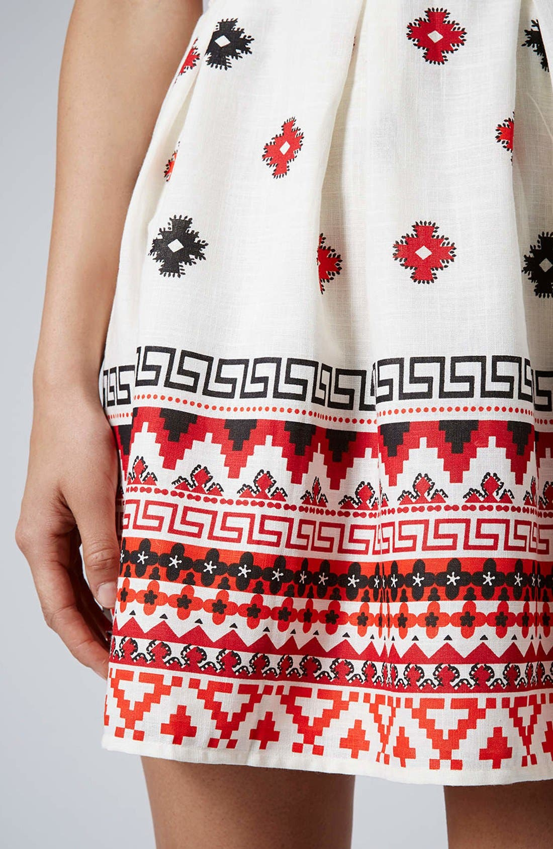 Alternate Image 4  - Topshop Print Pompom Trim Fit & Flare Dress