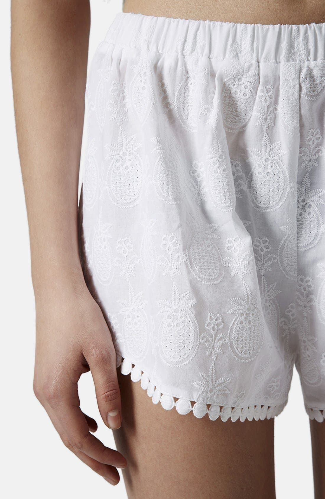 Alternate Image 4  - Topshop Pineapple Embroidered Cotton Shorts