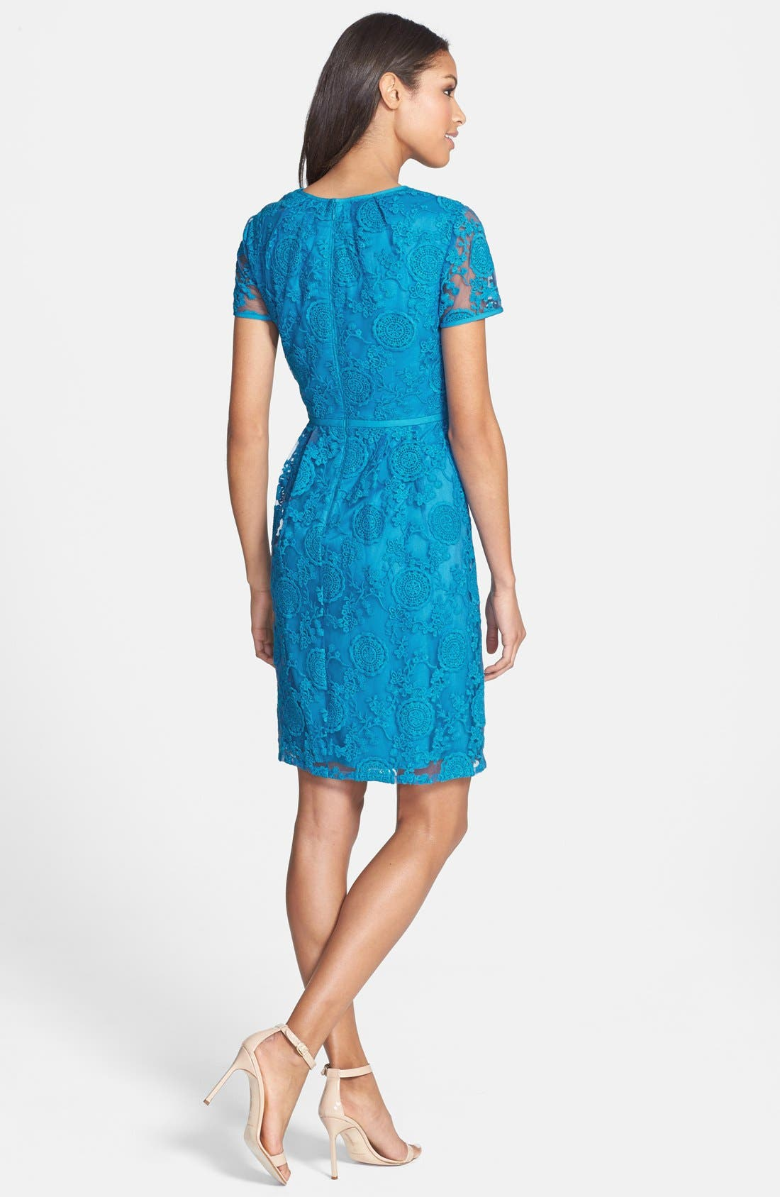 Alternate Image 2  - Adrianna Papell Embroidered Lace Dress