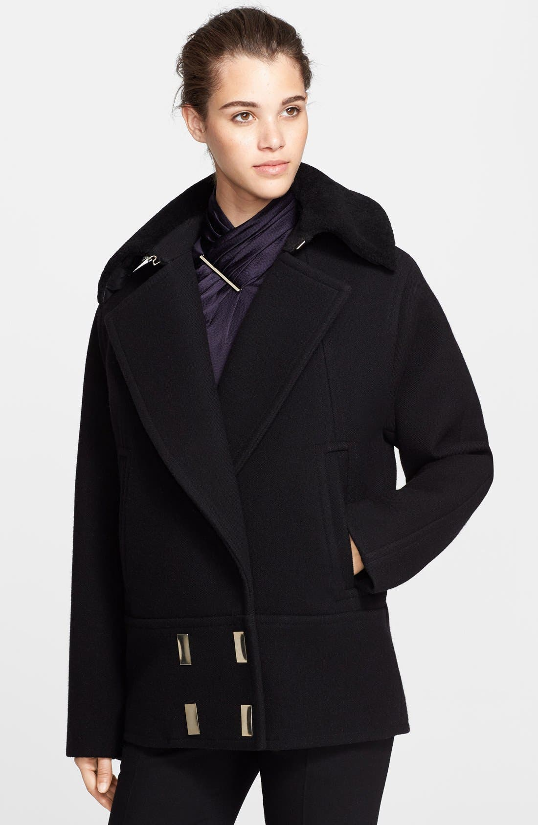 Alternate Image 1 Selected - Jason Wu Felted Wool Blend Coat with Genuine Shearling Collar
